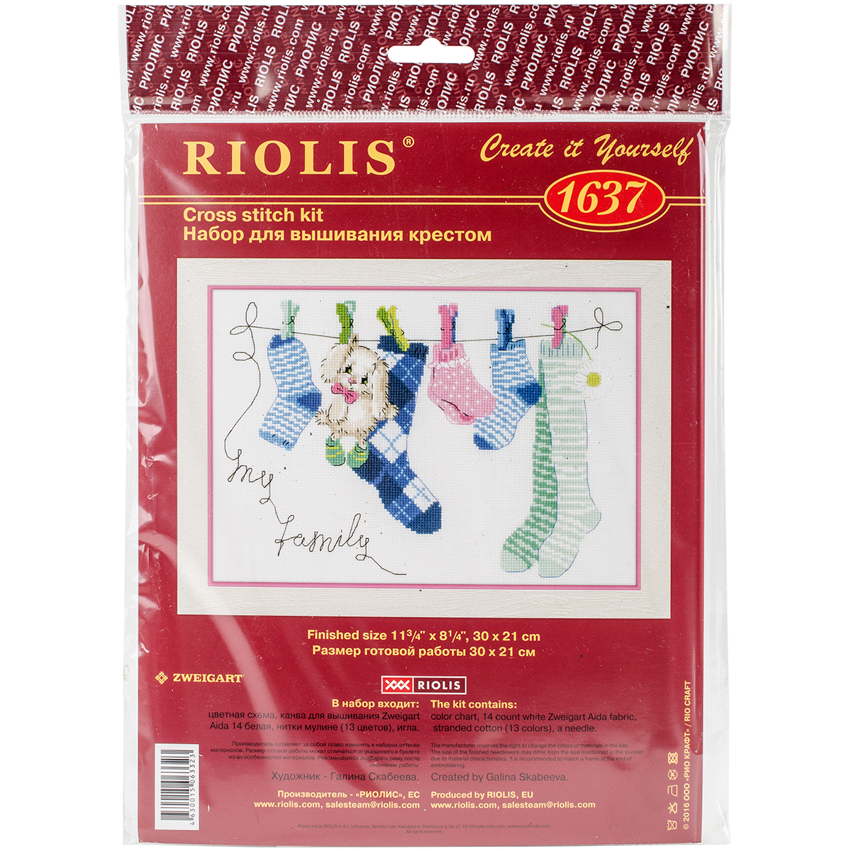 RIOLIS Counted Cross Stitch Kit 11.75x8.25-My Family (14 Count)