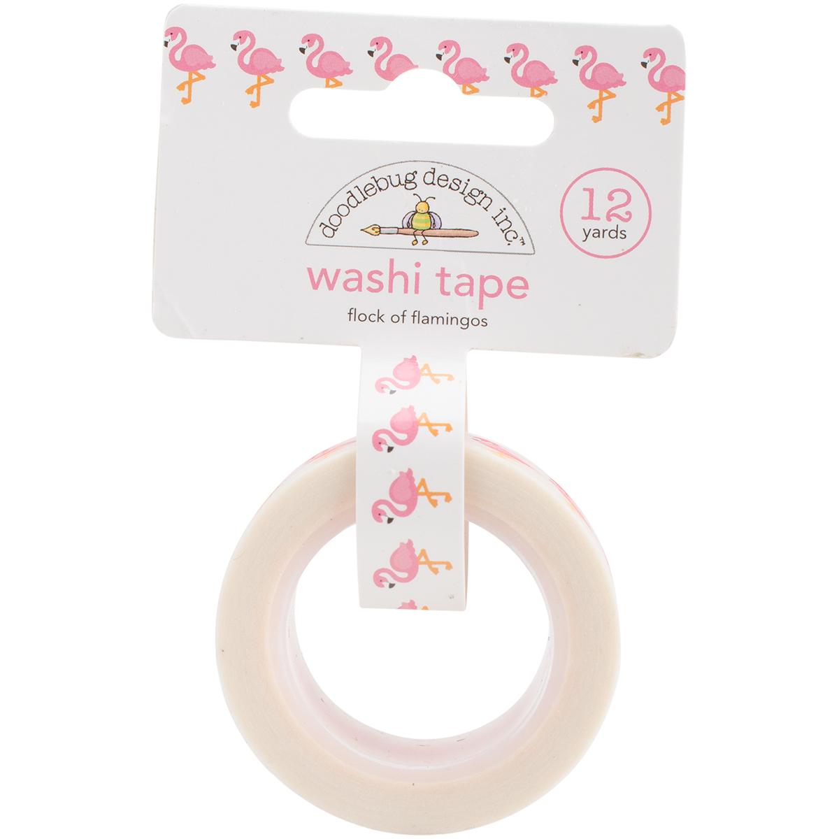 Doodlebug Washi Tape 15mmX12yd-Flock Of Flamingos