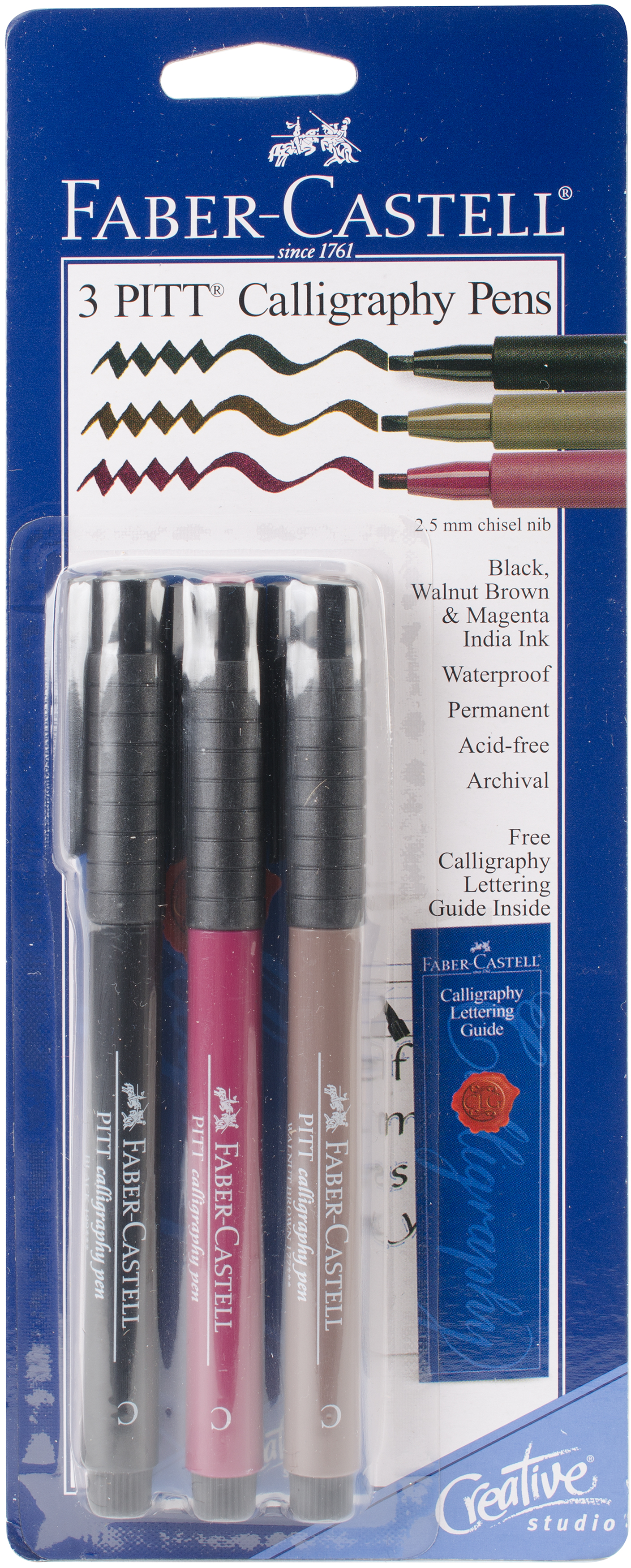 PITT Calligraphy Pens 2.5mm Chisel Tip 3/Pkg-Magenta, Black & Walnut Brown