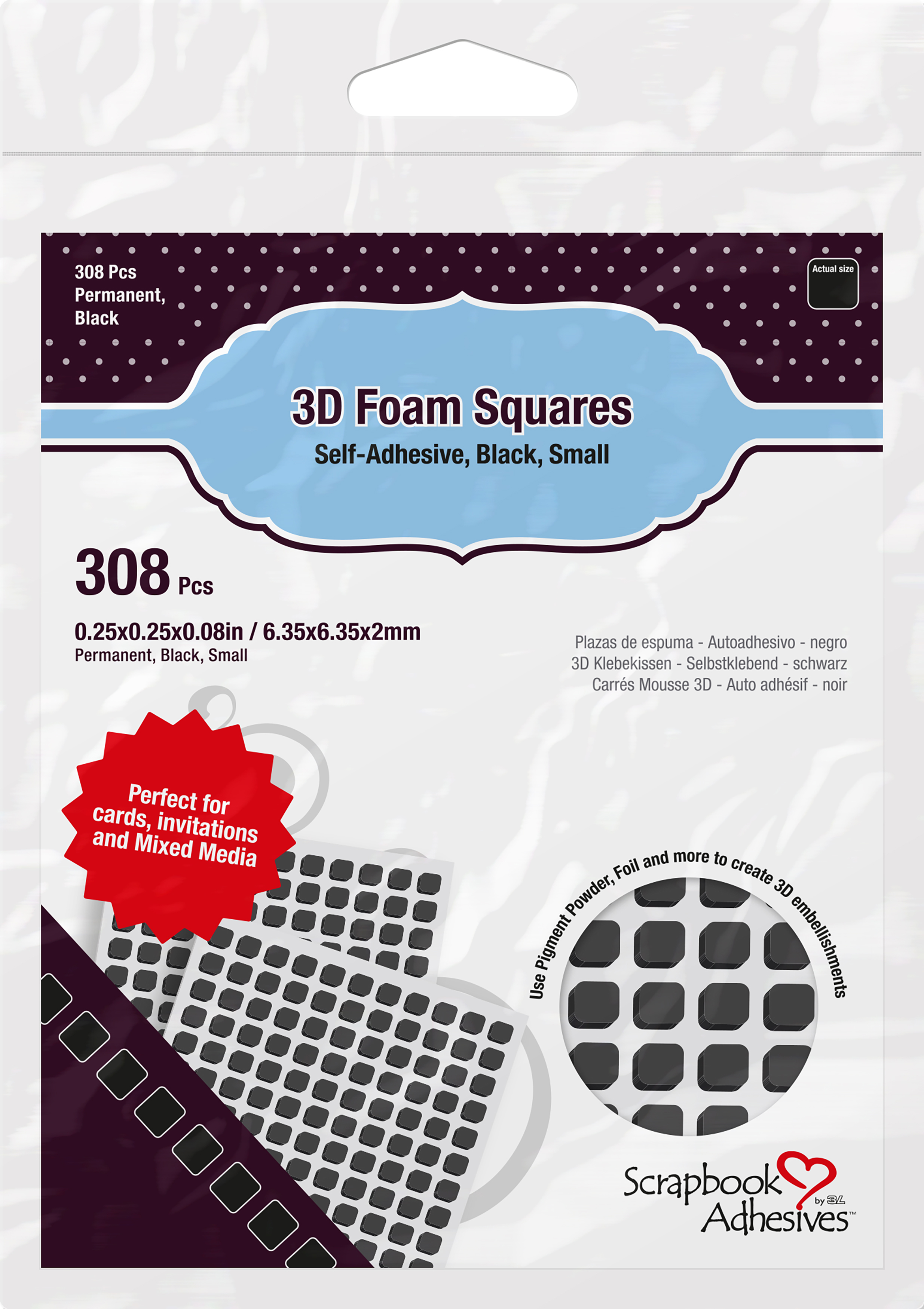 Scrapbook Adhesives 3D Self-Adhesive Foam Squares 308/Pkg-Black, .25X.25