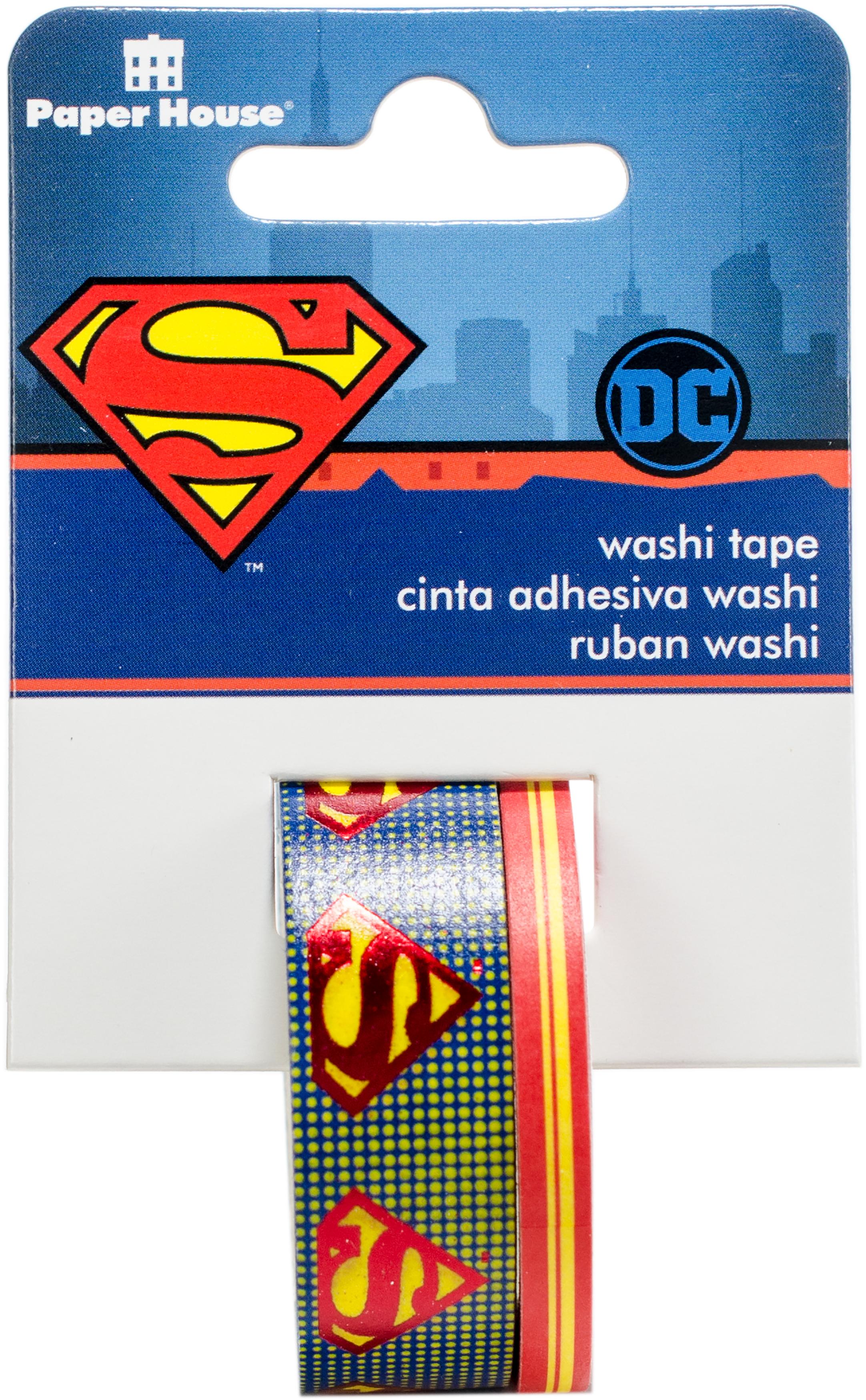 Paper House Washi Tape 2/Pkg-Superman Logo, 15mmx10m and 5mmx10m