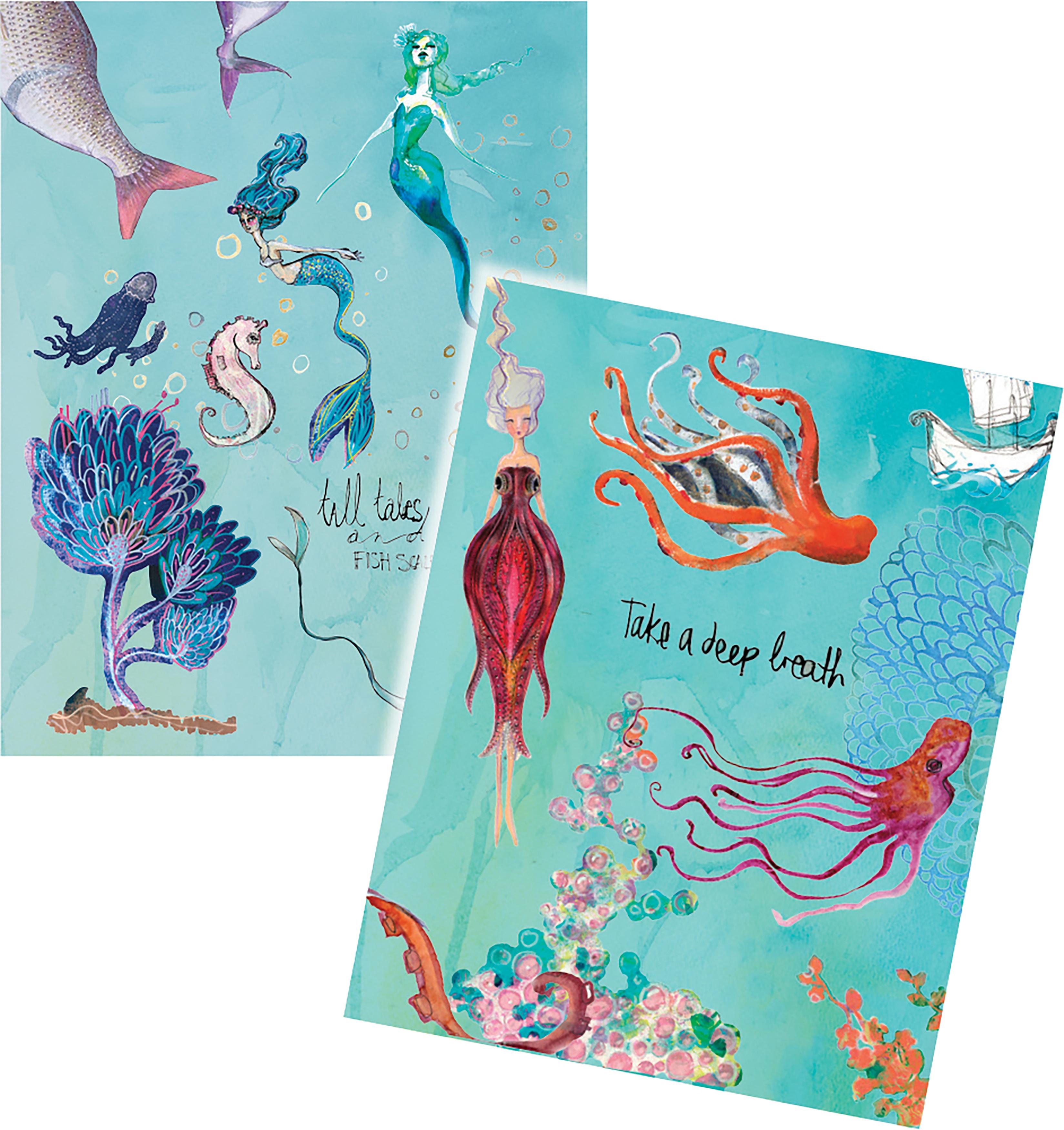 Jane Davenport Artomology Washi Sheets 4/Pkg-Washi Mermaids