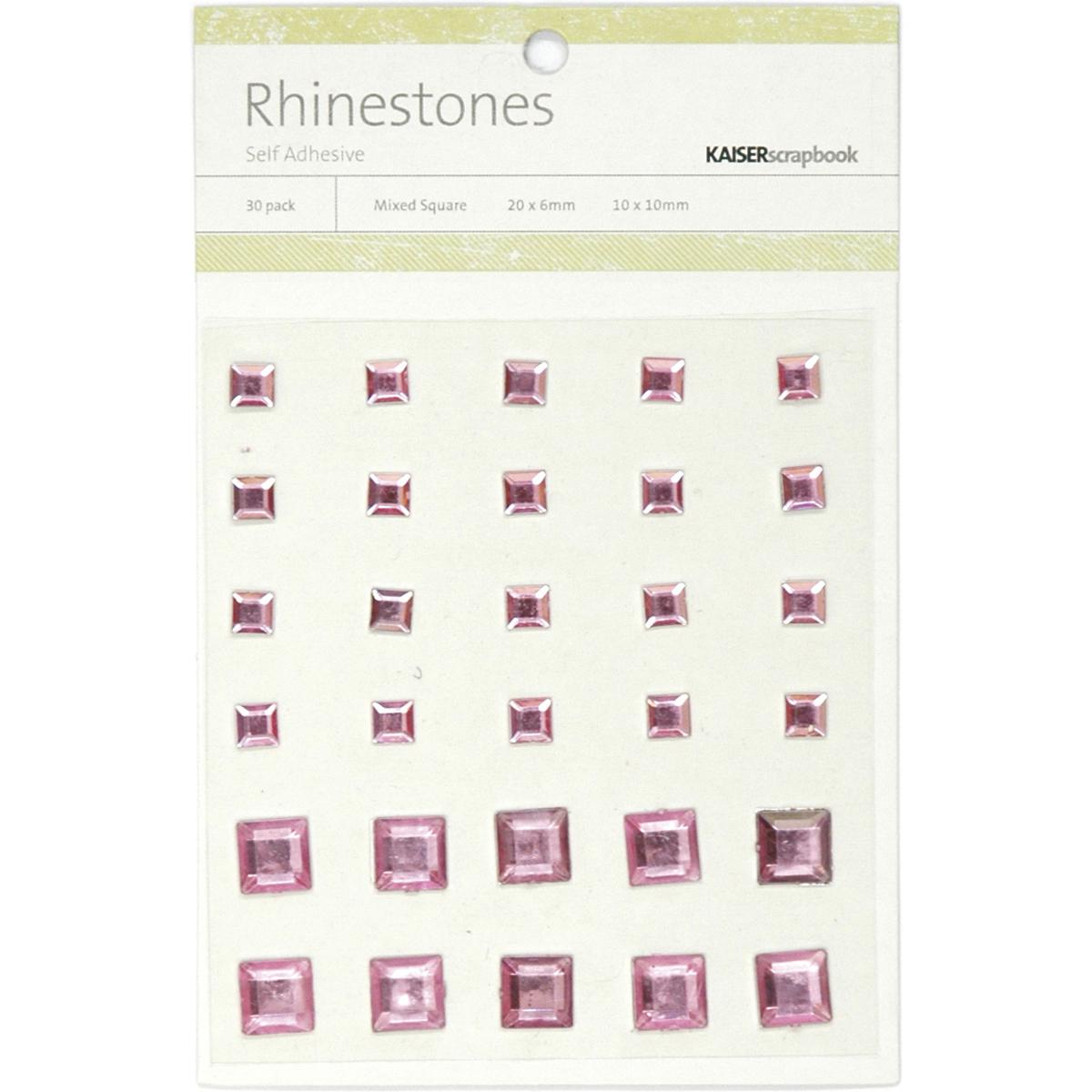 Self-Adhesive Square Rhinestones 30/Pkg-Light Pink
