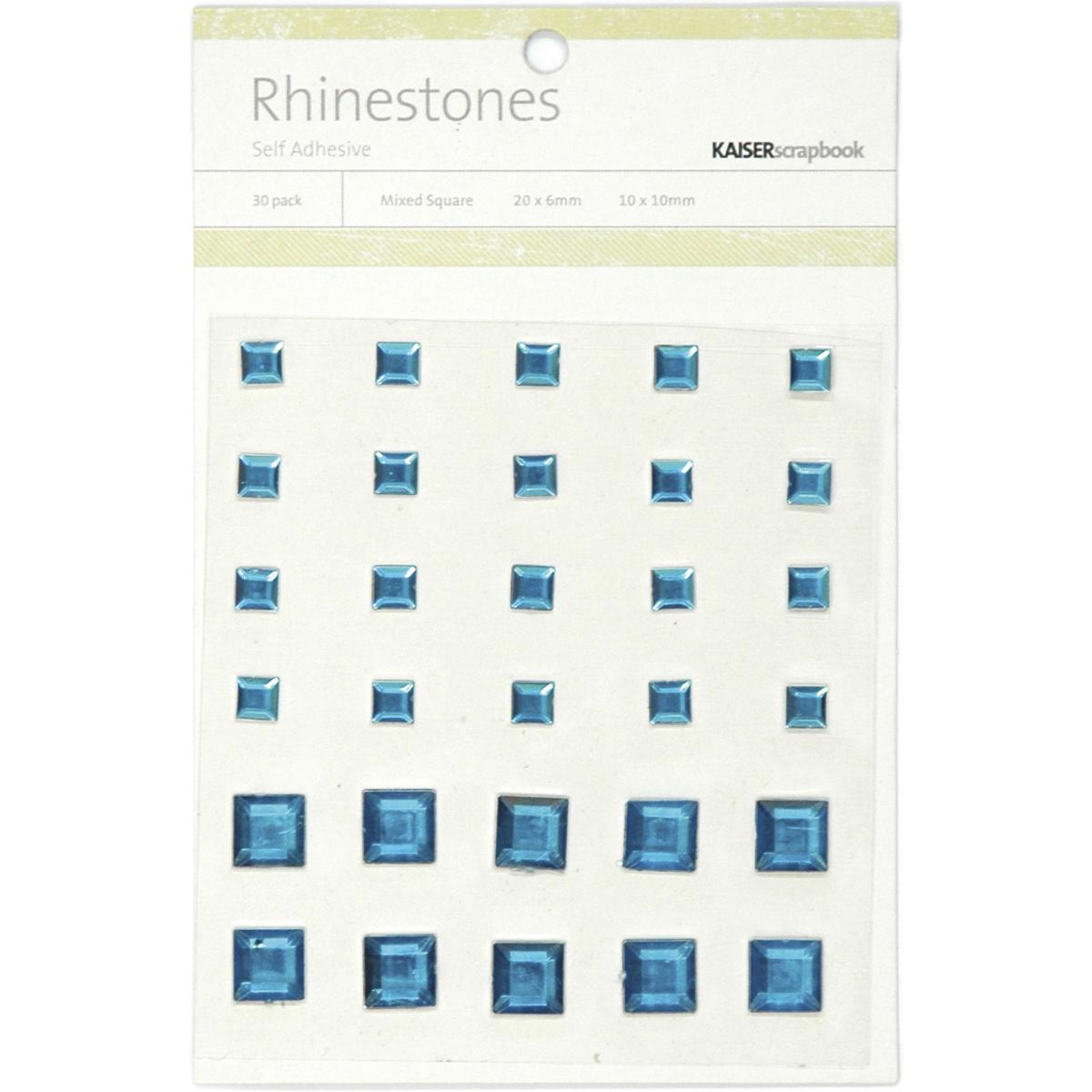 Self-Adhesive Square Rhinestones 30/Pkg-Blue