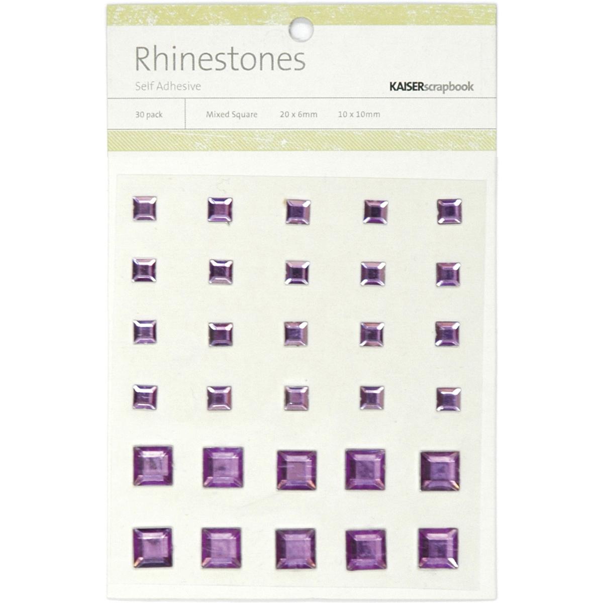 Self-Adhesive Square Rhinestones 30/Pkg-Lilac
