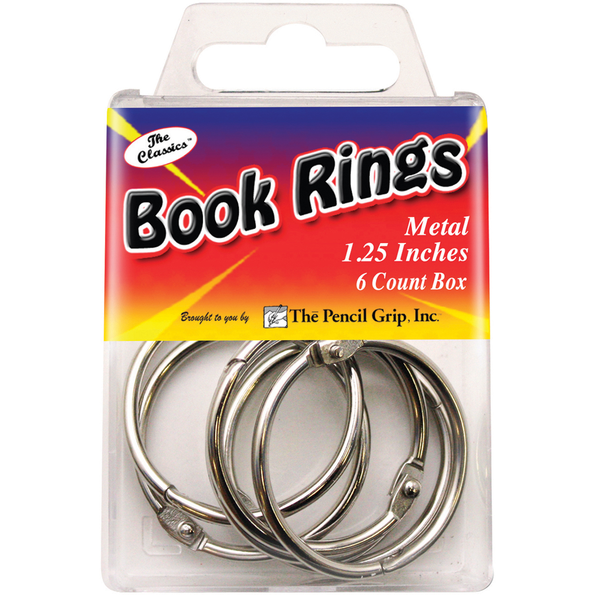 Book Rings 1.25 6/Pkg-Silver