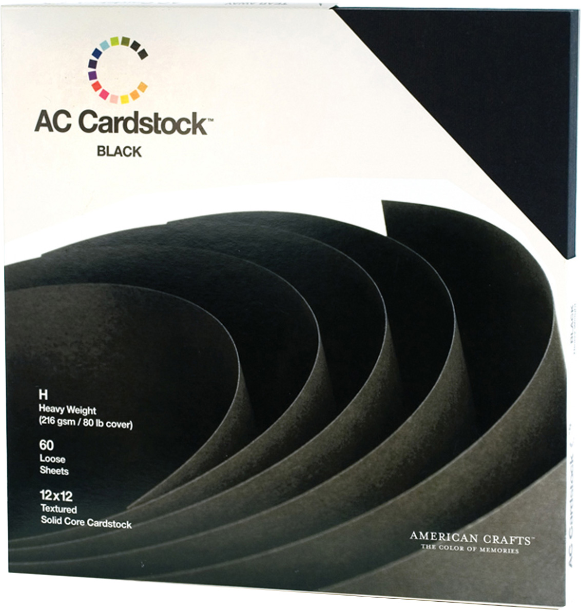American Crafts Textured Cardstock Pack 12X12 60/Pkg-Solid Black