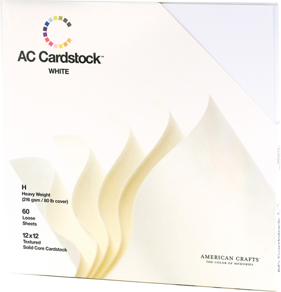 American Crafts Textured Cardstock Pack 12X12 60/Pkg-Solid White