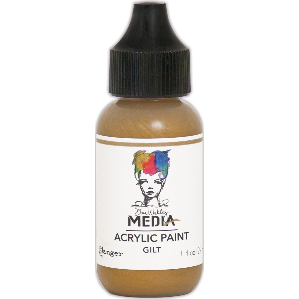 Dina Wakley Media Metallic Acrylic Paint 1oz-Gilt