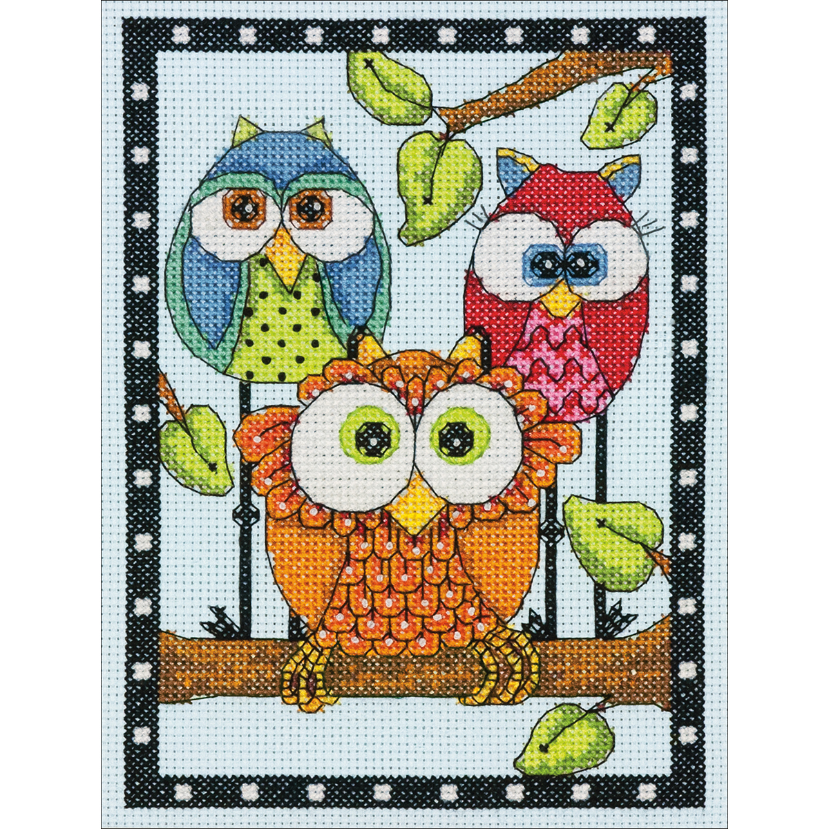 Dimensions Mini Counted Cross Stitch Kit 5X7-Owl Trio (14 Count)