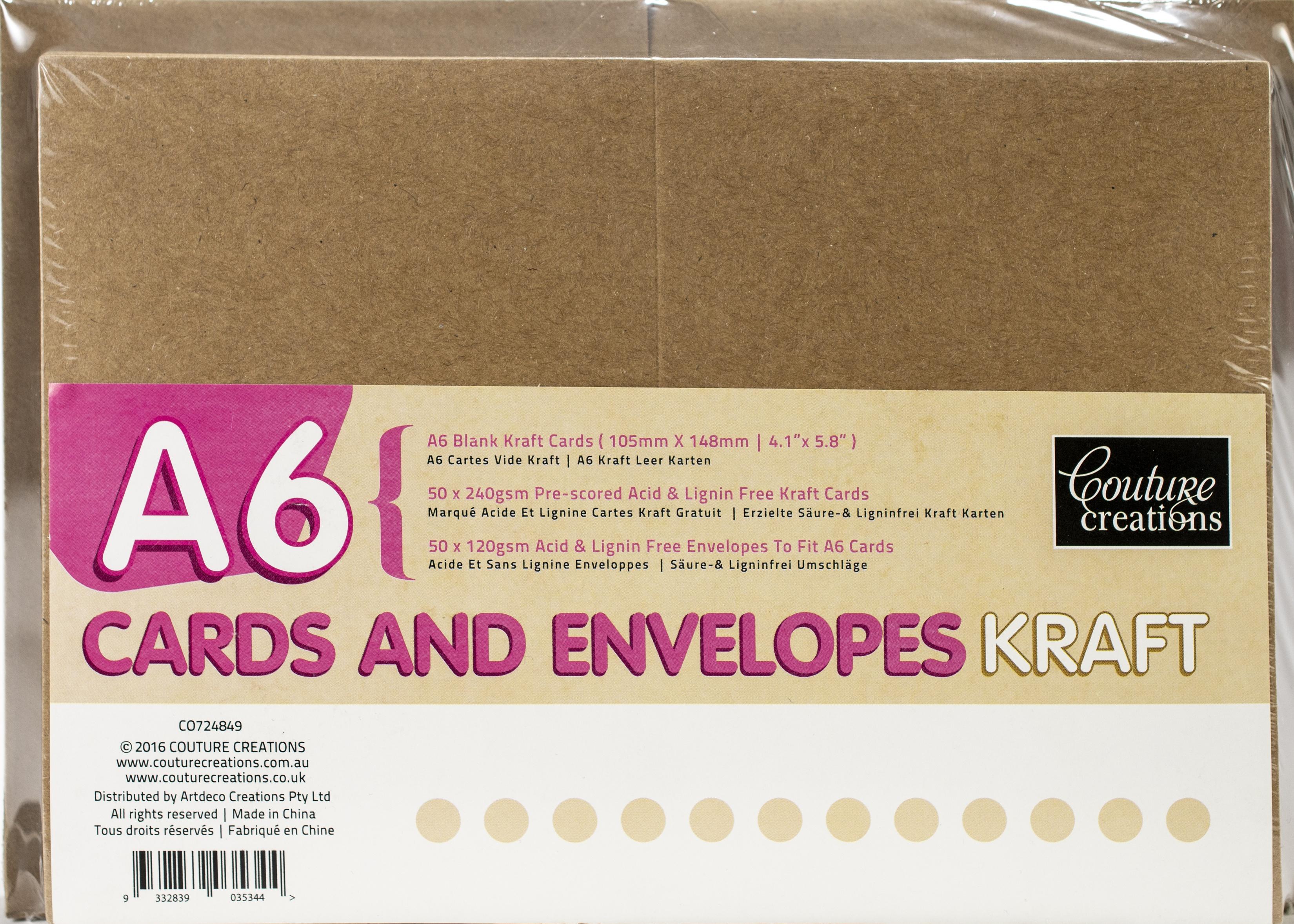 Card + Envelope Set - Kraft A6 (50 Sets)