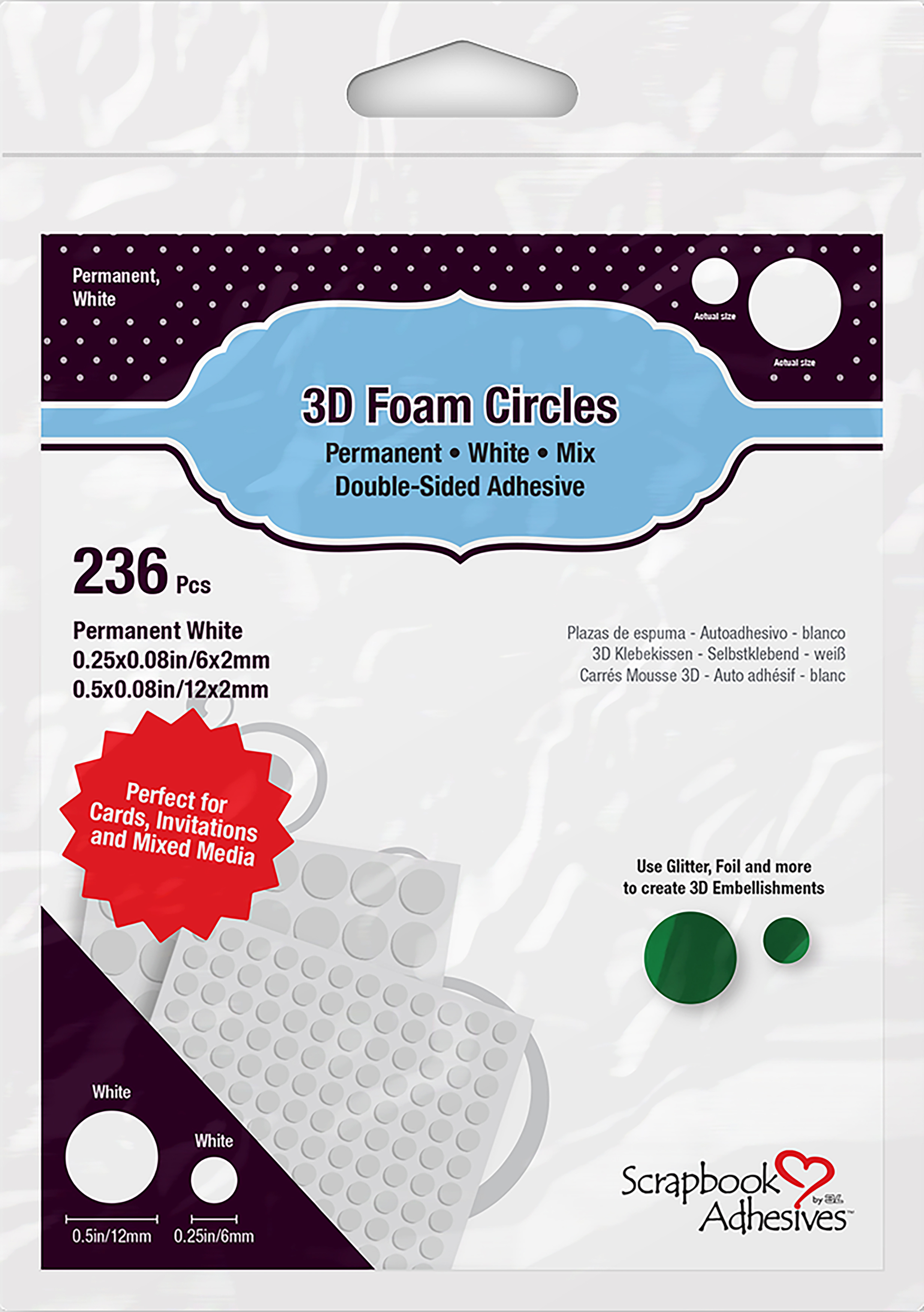 Scrapbook Adhesives 3D Foam Circles-White, Assorted Sizes