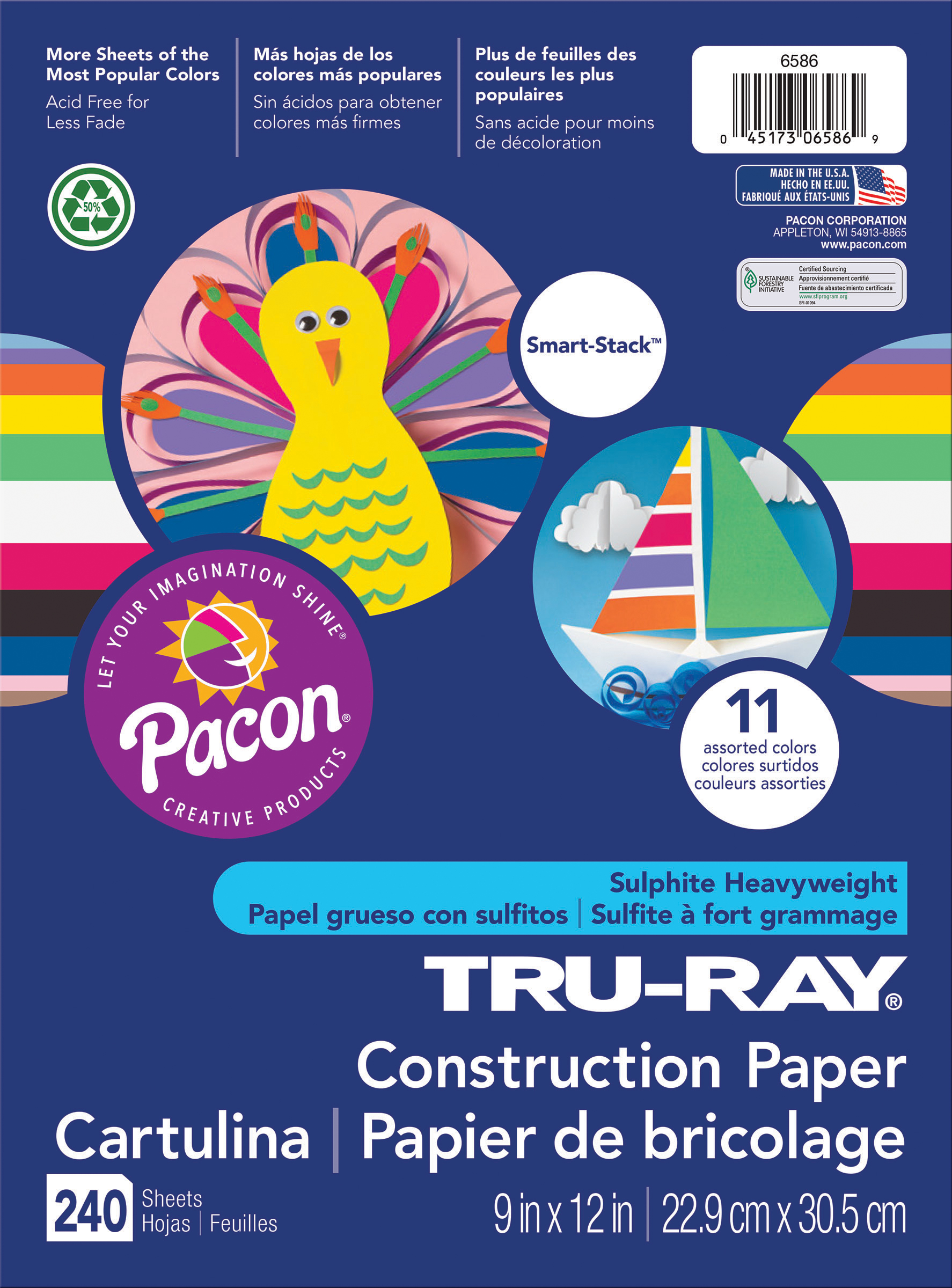 Pacon Tru-Ray Smart Stack Construction Paper 9X12-240 Sheets/Pkg, Assorted Colors