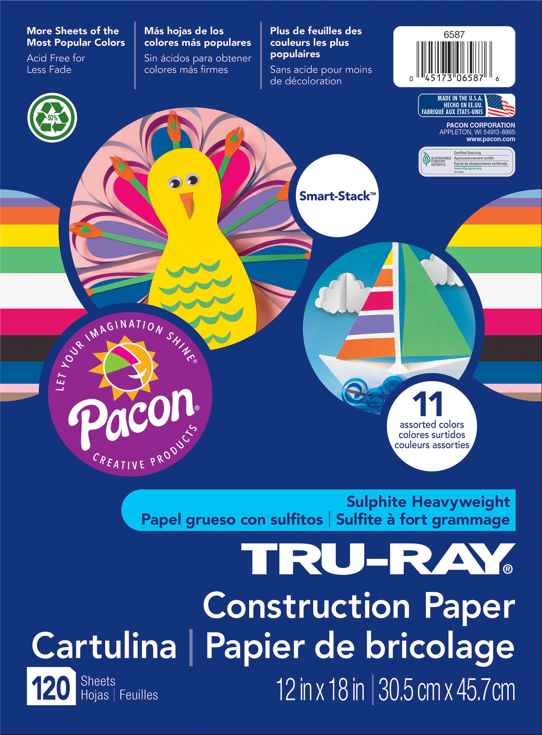 Pacon Tru-Ray Smart Stack Construction Paper 12X18-120 Sheets/Pkg, Assorted Colors