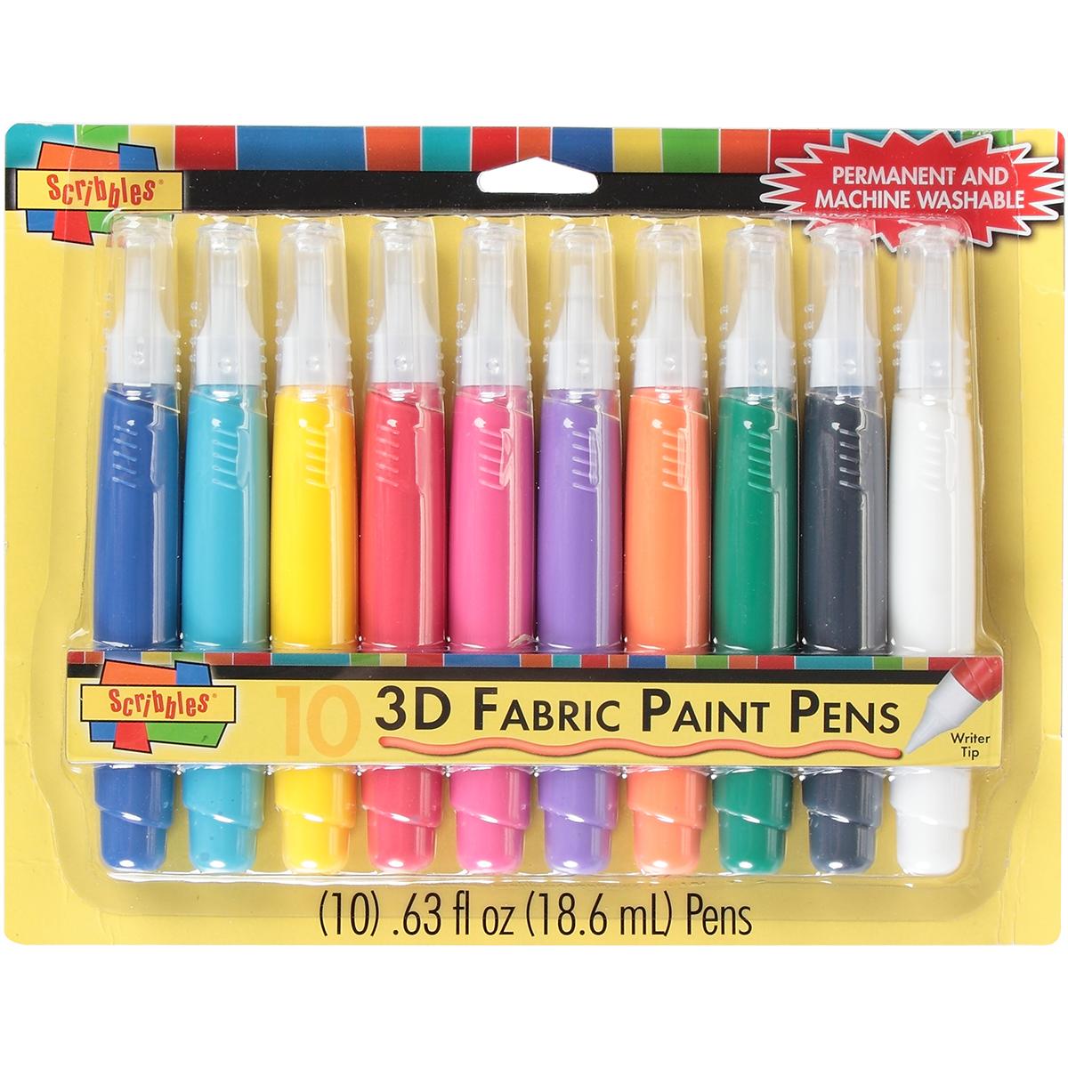Scribbles 3D Fabric Paint Pens 10/Pkg-Assorted