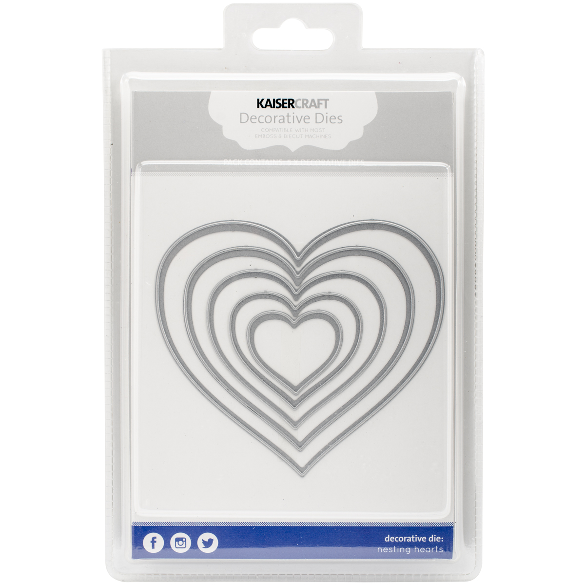 Kaisercraft Nesting Dies 5/Pkg-Hearts 1.25 To 4.75