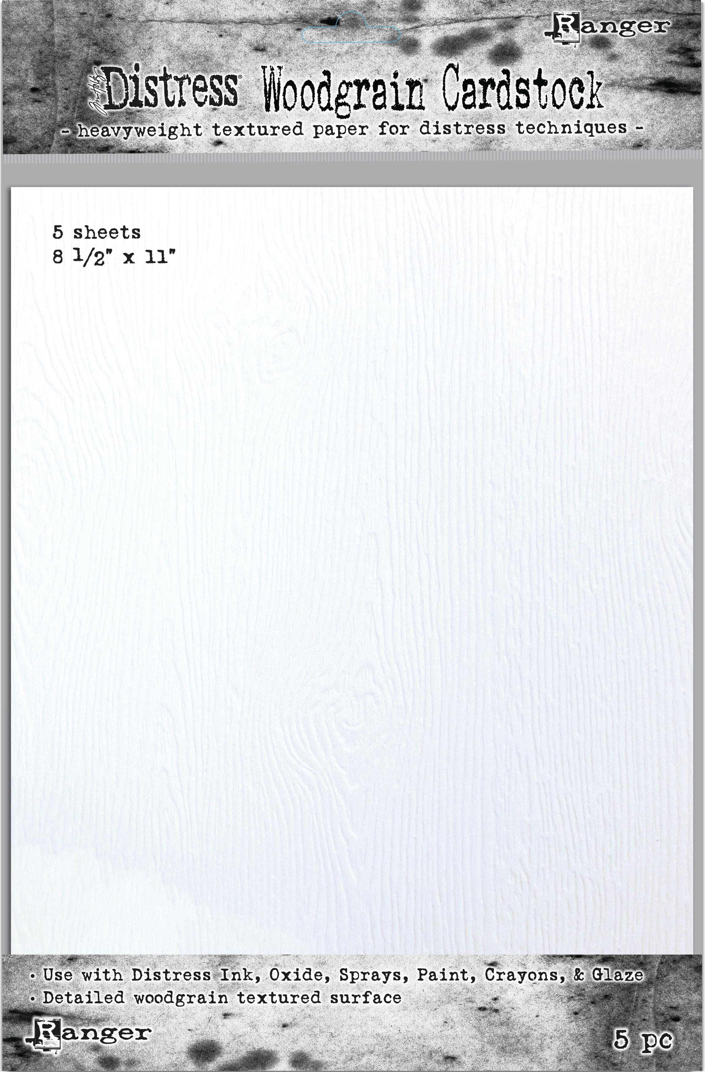 Distress Woodgrain Cardstock 4.25x5.5 12pk