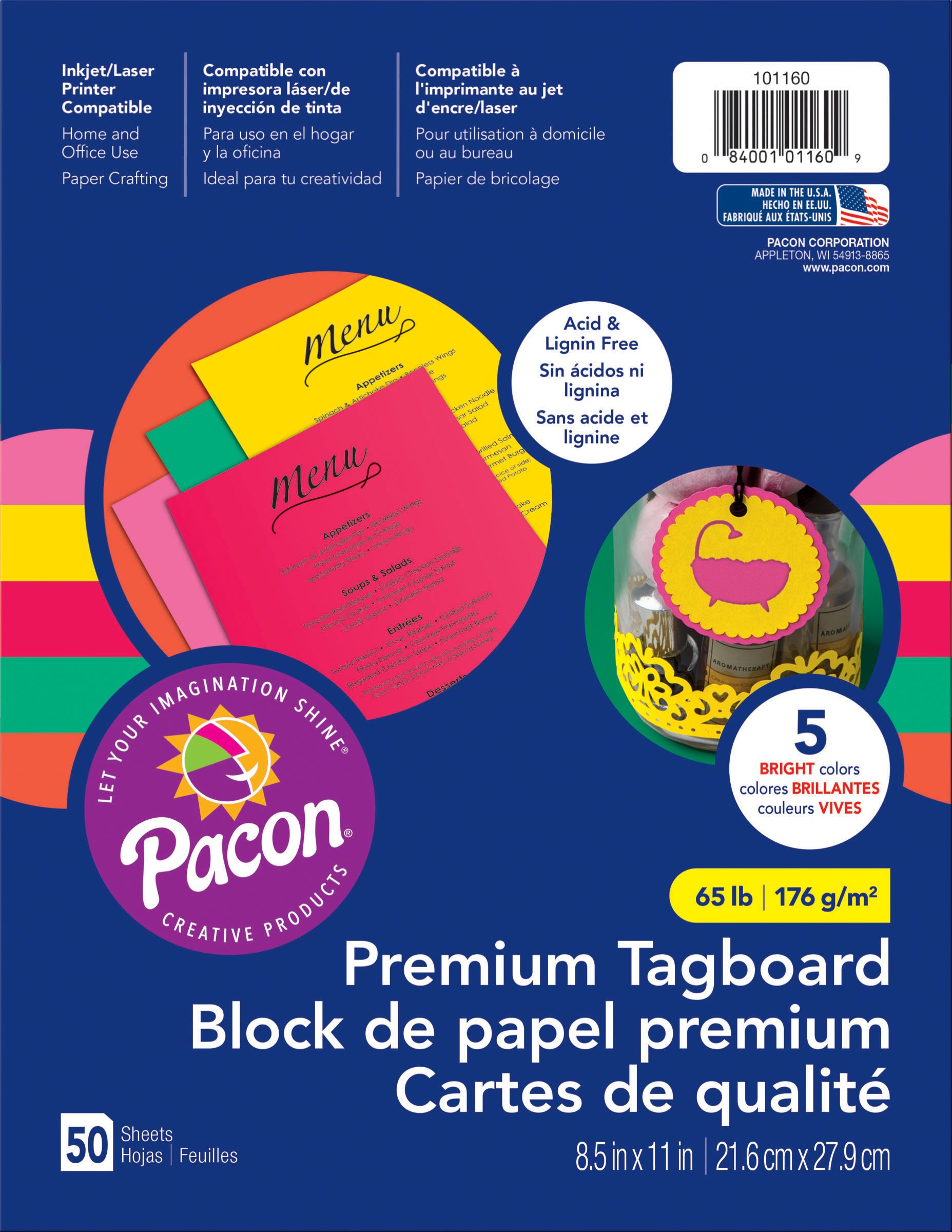 Pacon Premium Tagboard Paper 8.5X11 50 Sheets/Pkg-Brights Assorted Colors
