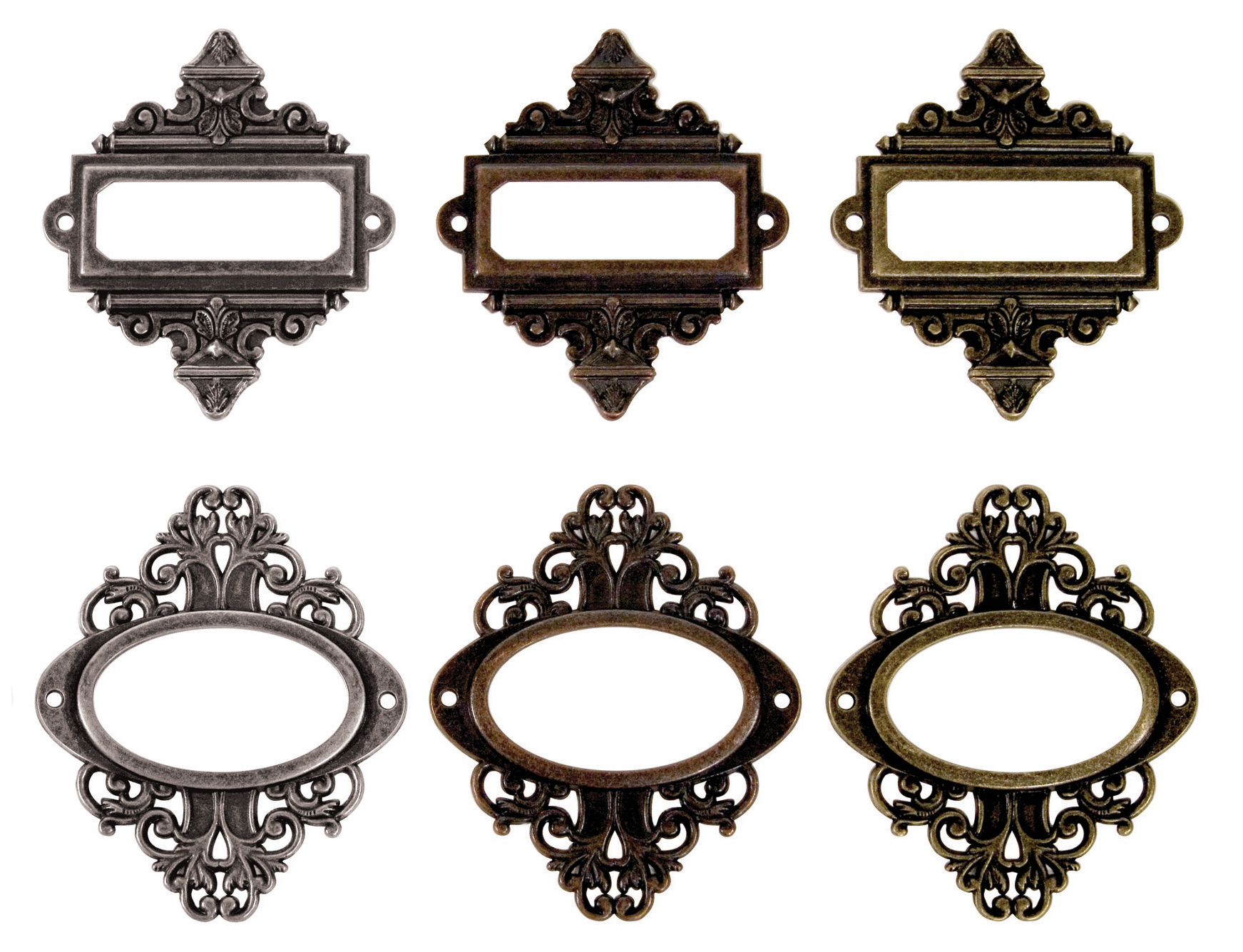 Idea-Ology Metal Ornate Plates W/Brads 2.25X2.5 6/Pkg-Antique Nickel, Brass & ...