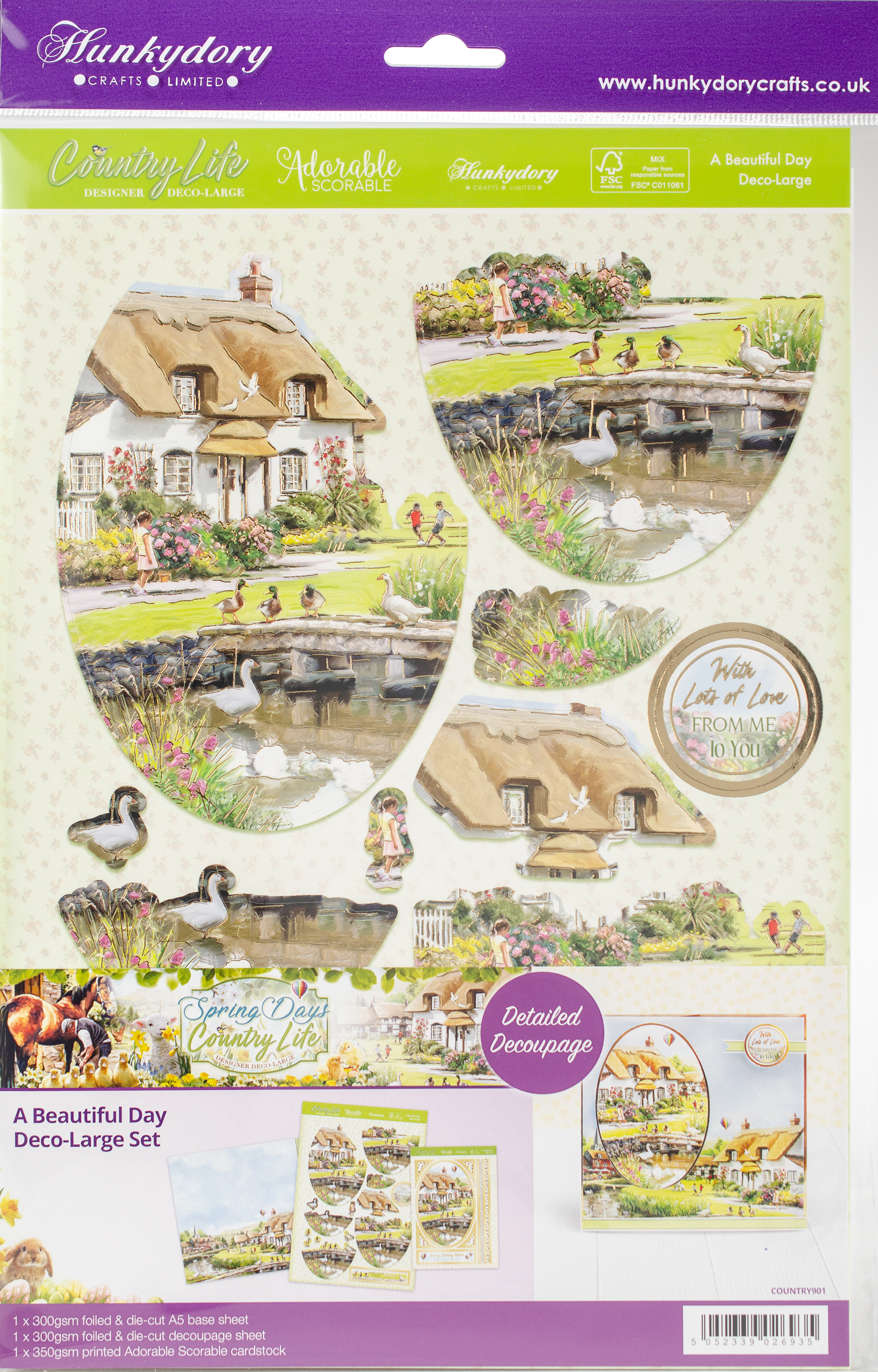 Hunkydory Country Life A4 Decoupage Set-A Beautiful Day