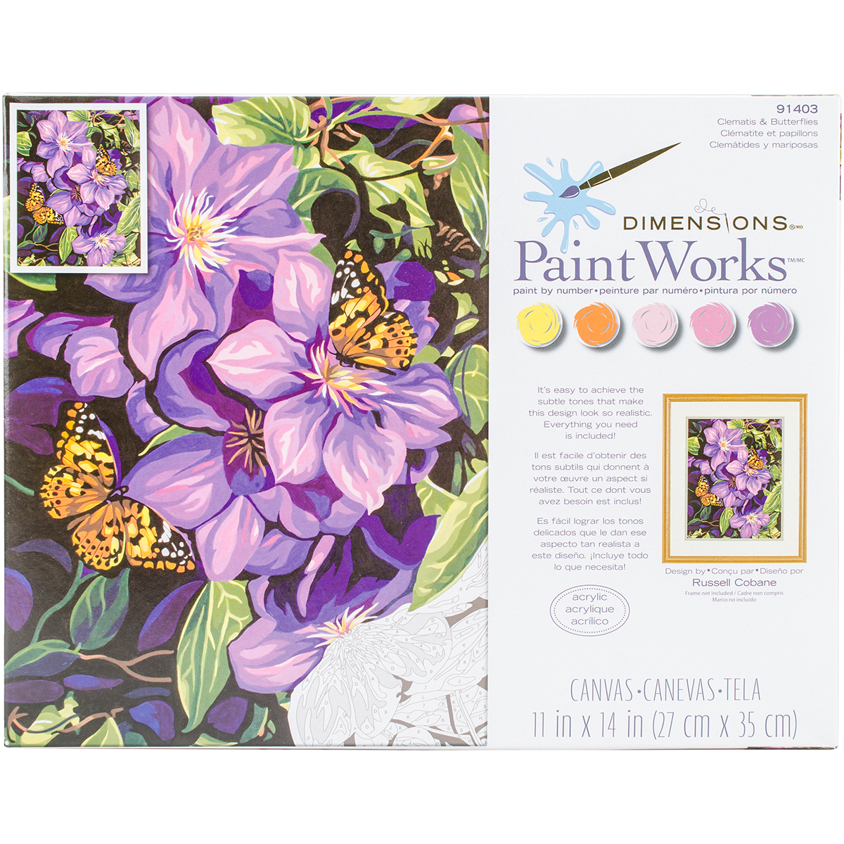 Paint Works Paint By Number Kit 11X14-Clematis & Butterflies