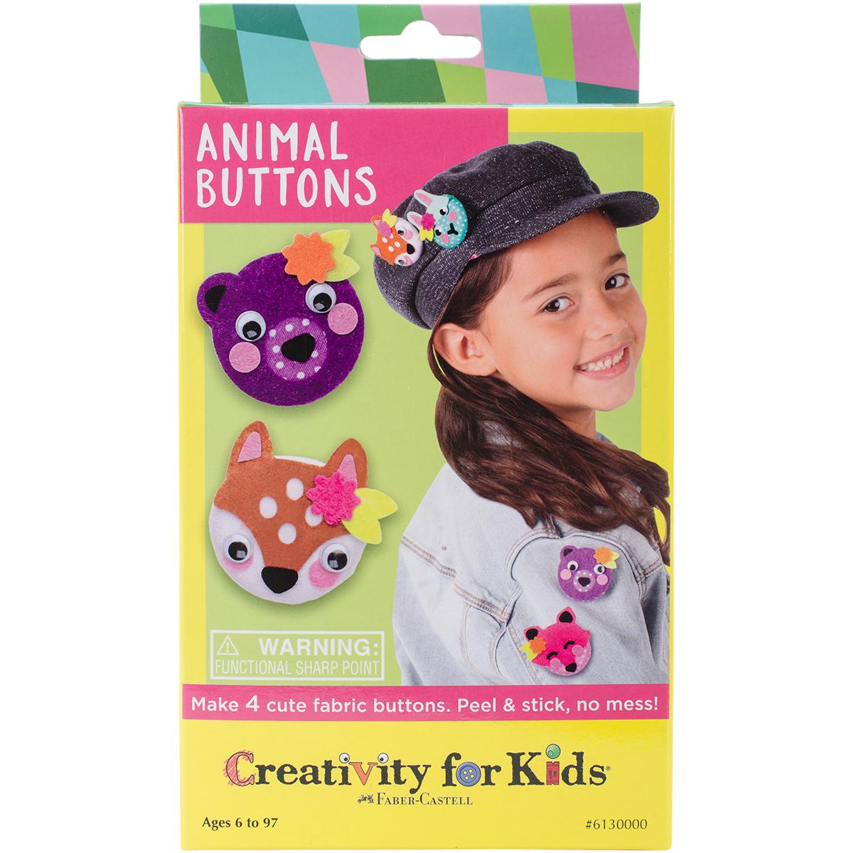 Animal Buttons Mini Kit-Makes 4