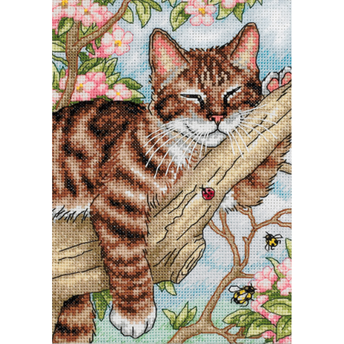 Dimensions Gold Petite Counted Cross Stitch Kit 5X7-Napping Kitten (18 Count)