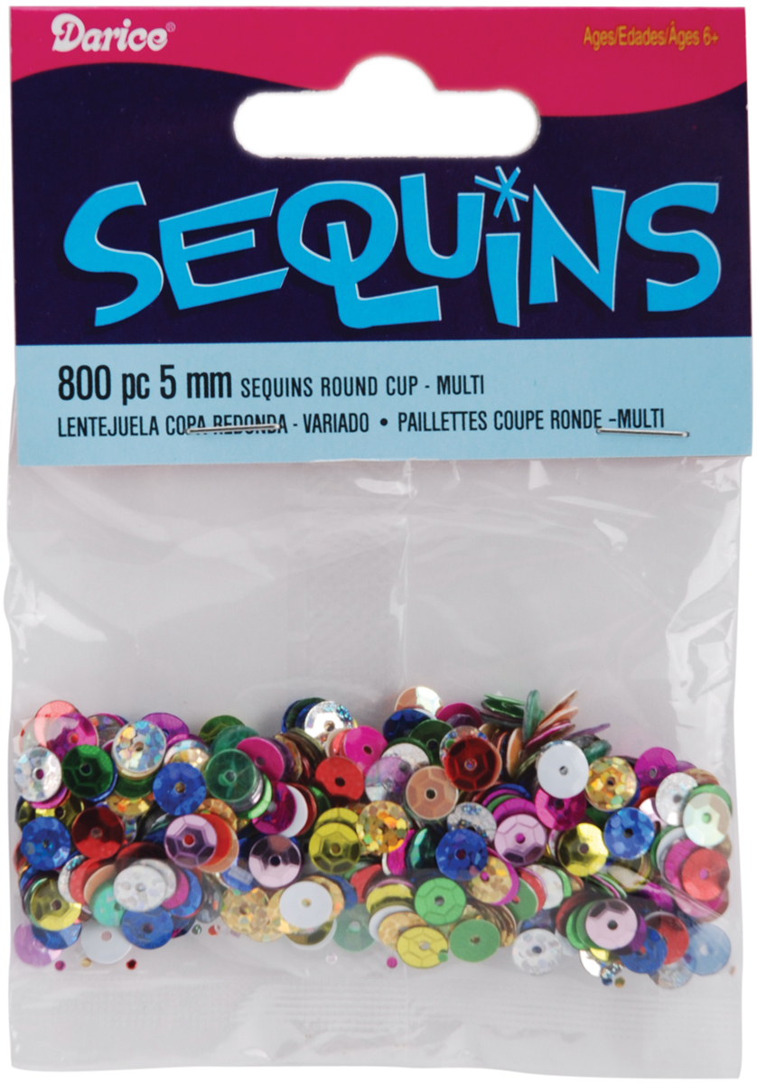Cupped Sequins 5mm 800/Pkg-Multi