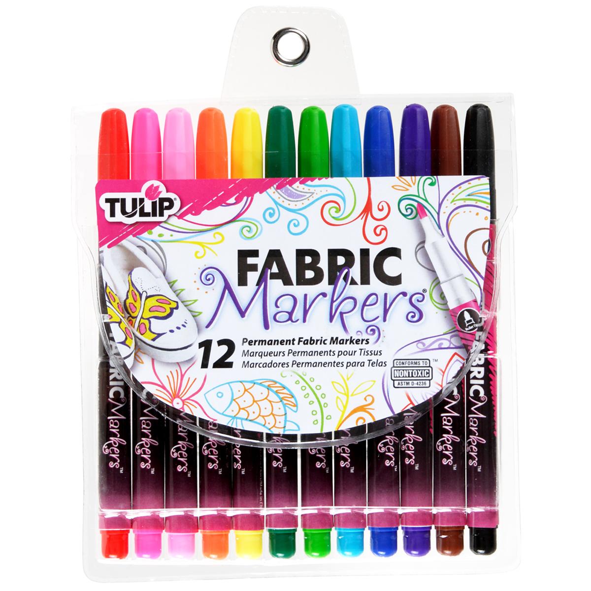 Tulip Fine Fabric Markers 12/Pkg-Assorted