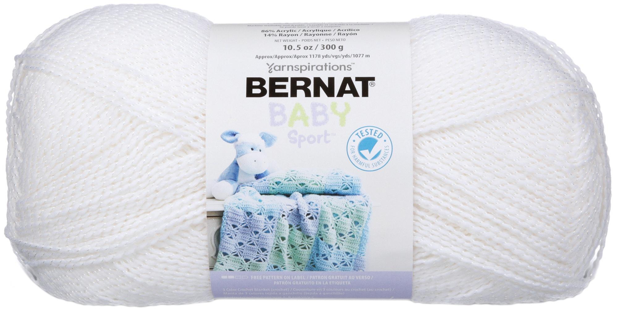 Bernat Baby Sport Big Ball Yarn - Sparkle-White Sparkle