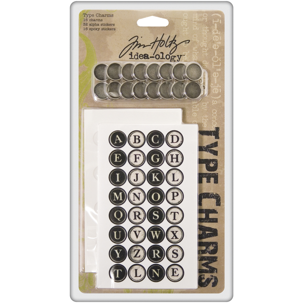 Idea-Ology Metal Type Charms 16/Pkg-W/32 Alphabet & 16 Epoxy Stickers .6875