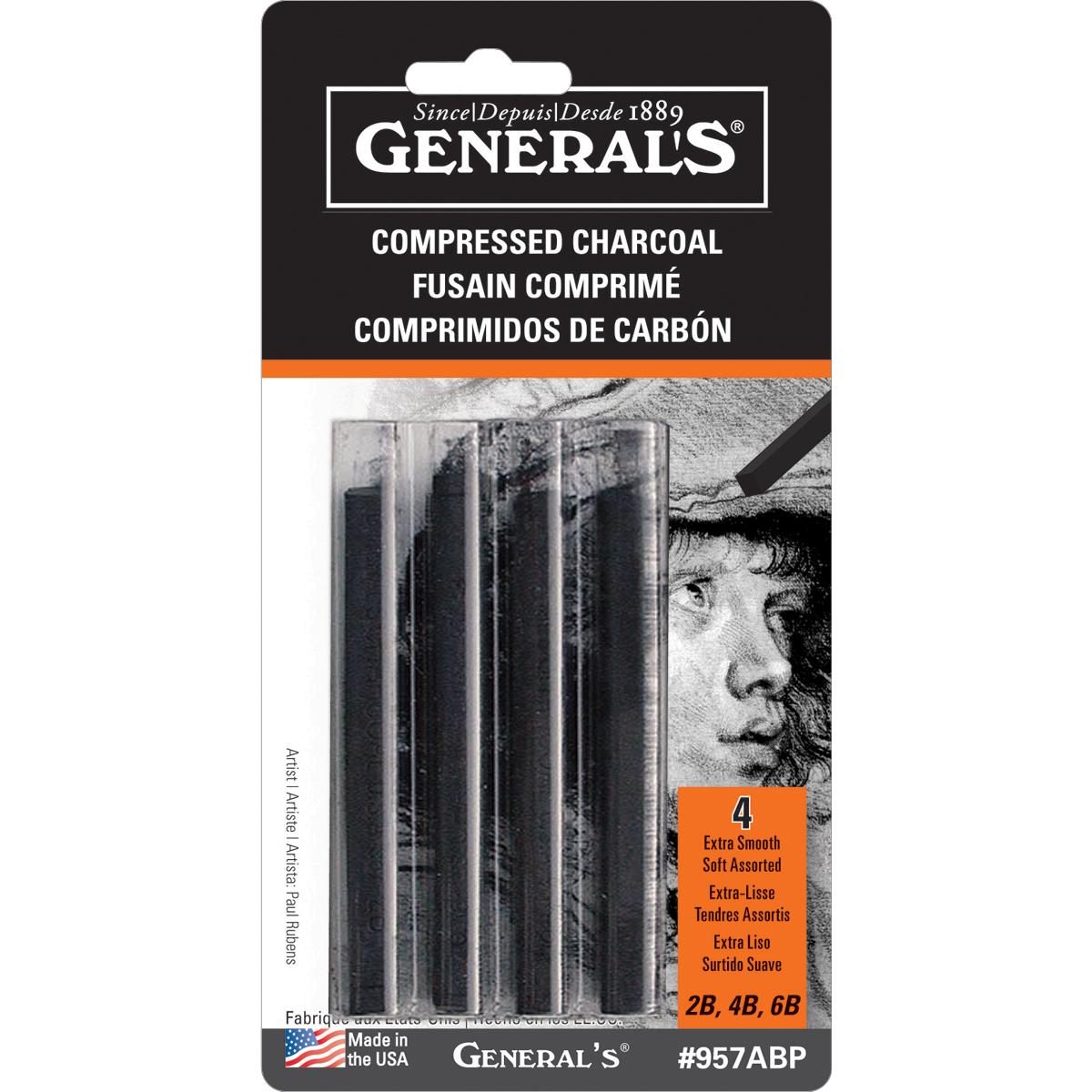 Compressed Charcoal Sticks 4/Pkg-Black - 2B, 4B & 6B