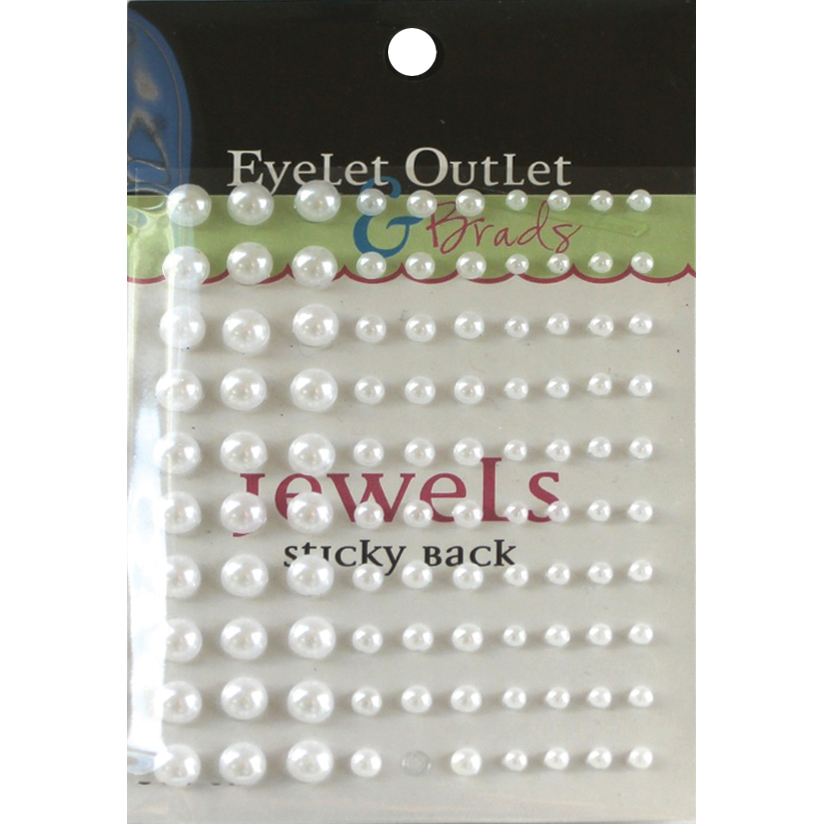 Eyelet Outlet Adhesive Pearls Multi-Size 100/Pkg - White