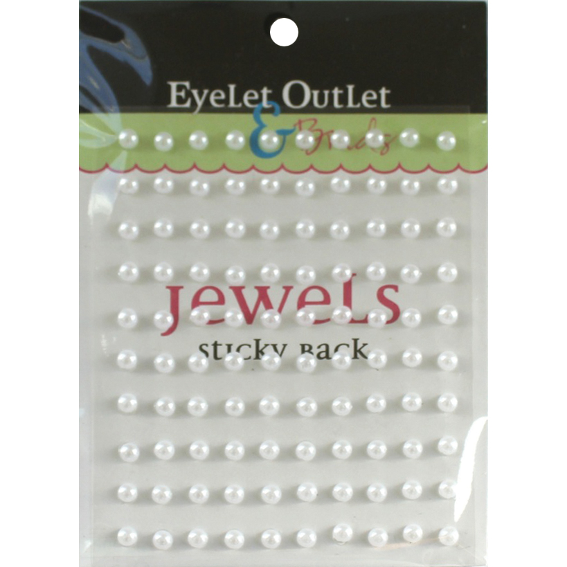 Eyelet Outlet Adhesive Pearls 5mm 100/Pkg - White