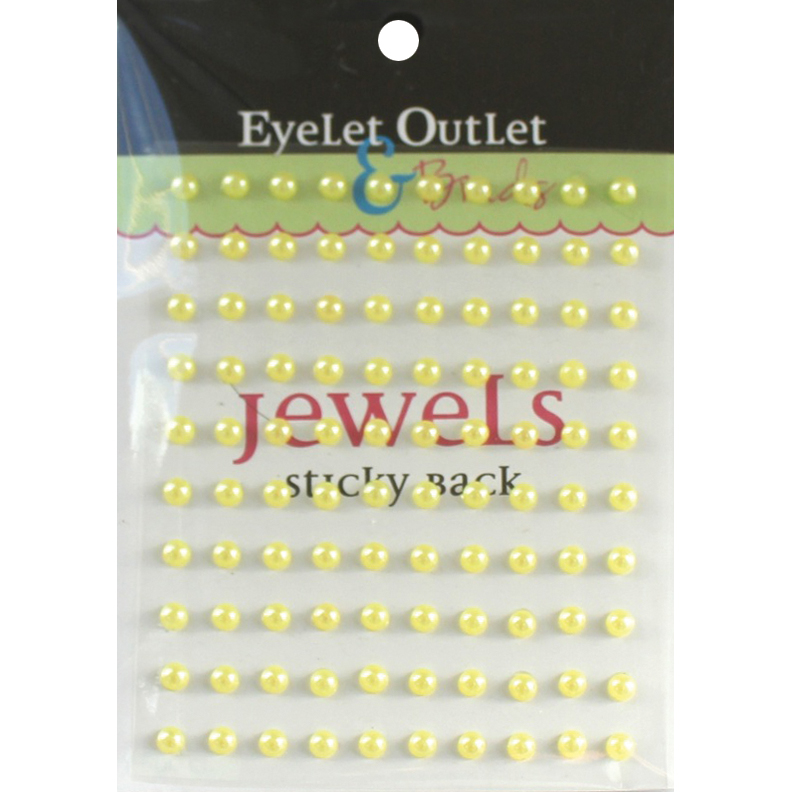 Eyelet Outlet Adhesive Pearls 5mm 100/Pkg-Yellow