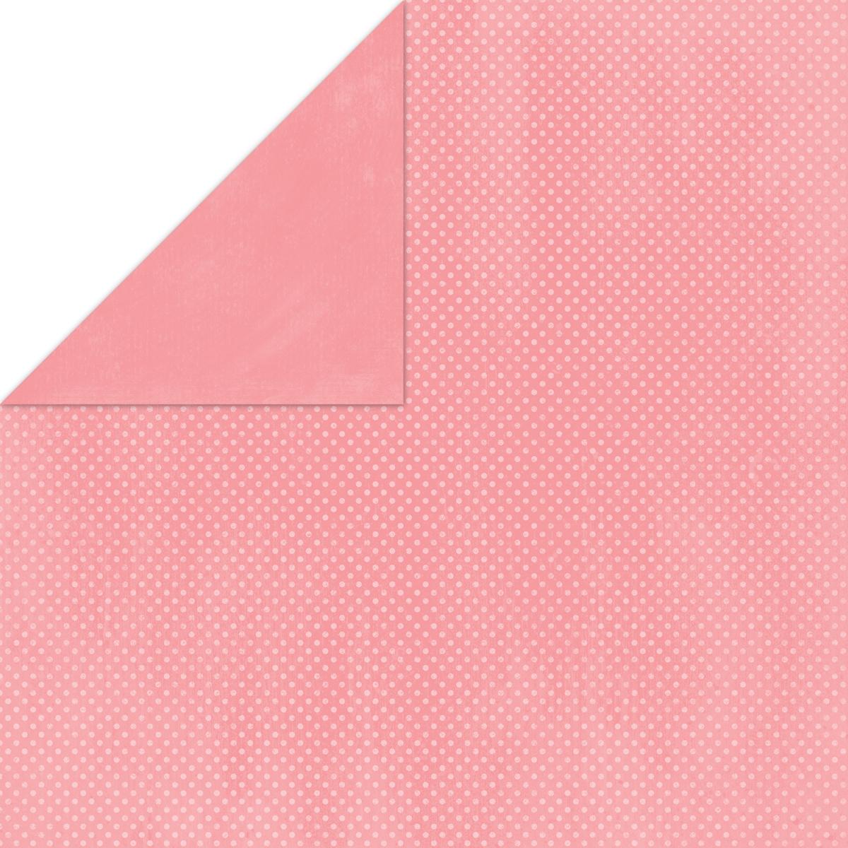 BoBunny Double Dot Double-Sided Textured Cardstock 12X12-Flamingo
