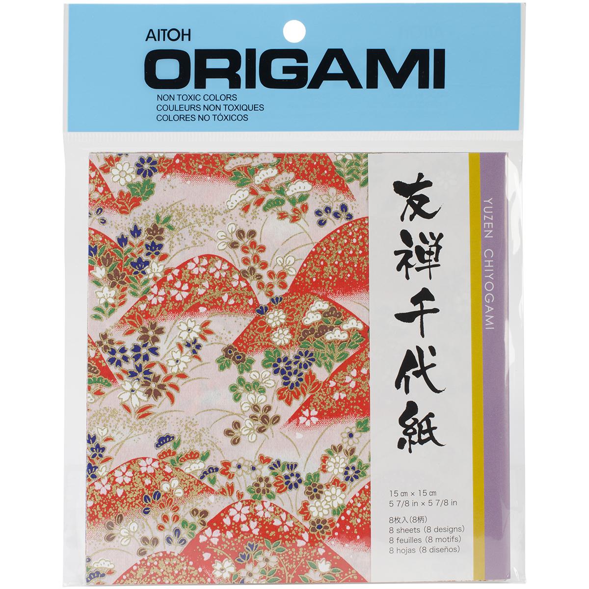 Origami Paper 5.875X5.875 8/Pkg-Yuzen Washi Red