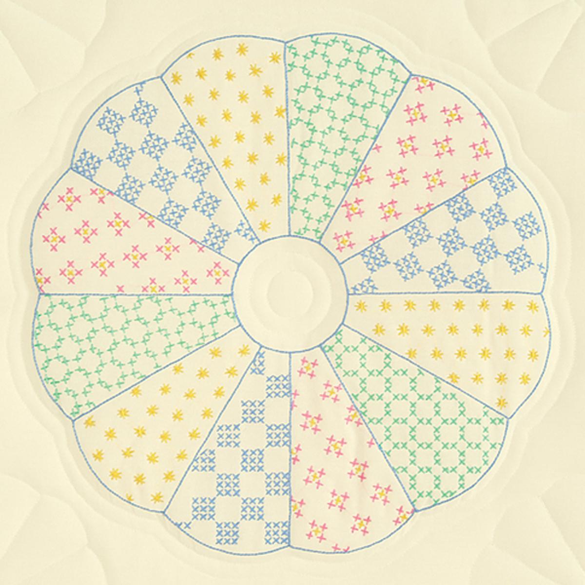 Jack Dempsey Stamped Ecru Quilt Blocks 18X18 6/Pkg-Interlocking Dresden Circle