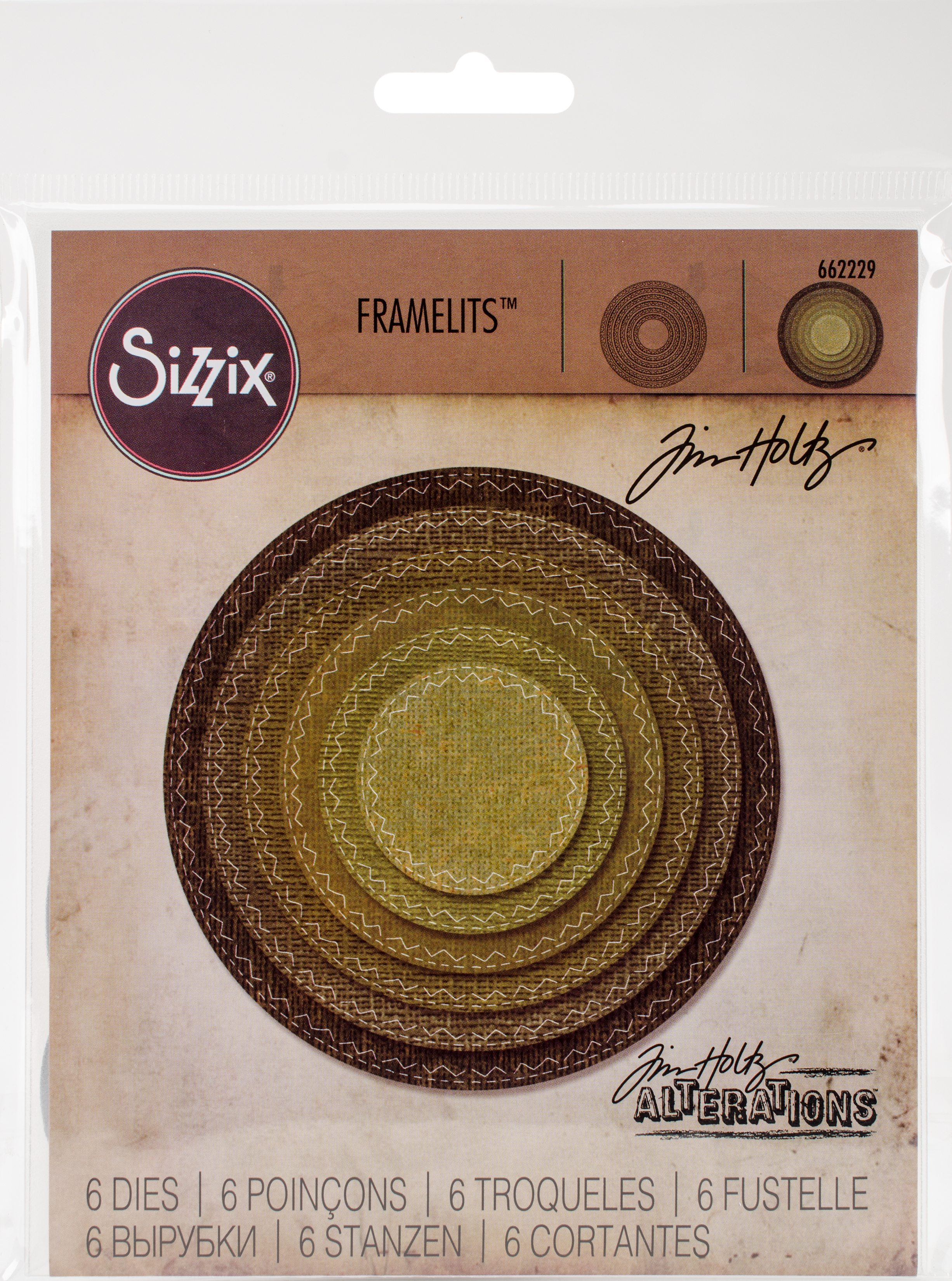 Sizzix Framelits Dies By Tim Holtz 6/Pkg-Stitched Circles