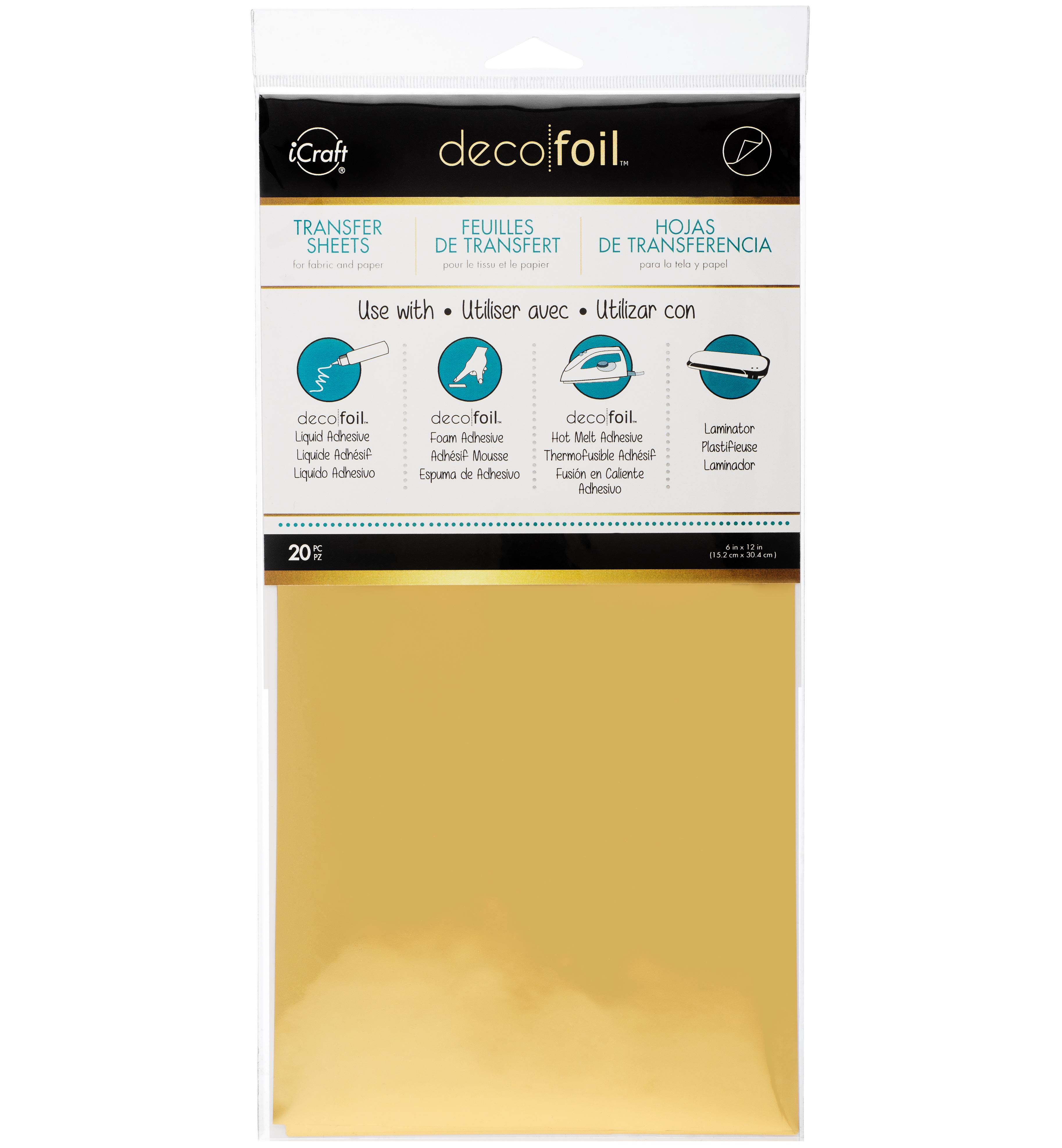 Deco Foil Transfer Sheets 6X12 20/Pkg Gold