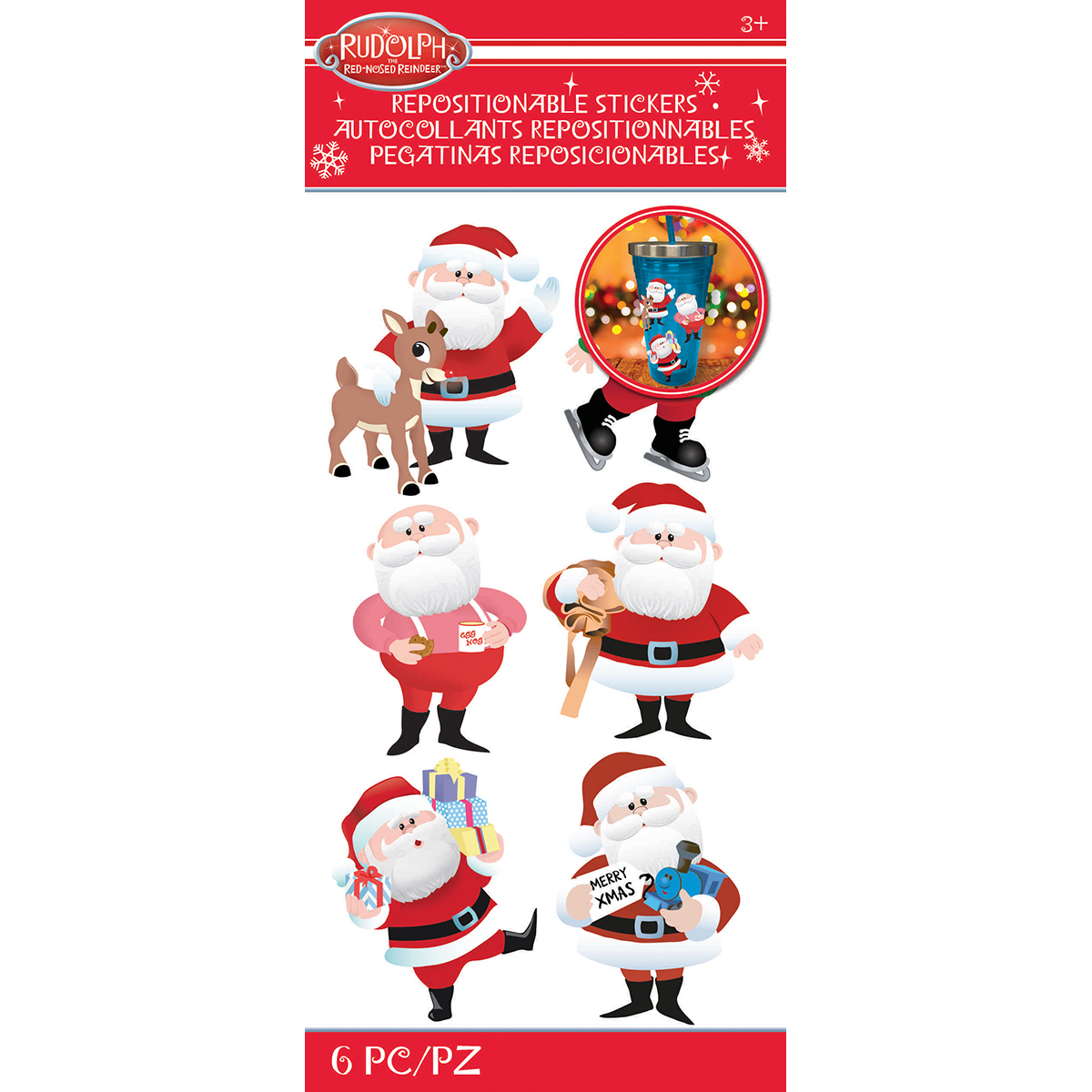 Rudolph The Red Nosed Reindeer Stickers-Santa