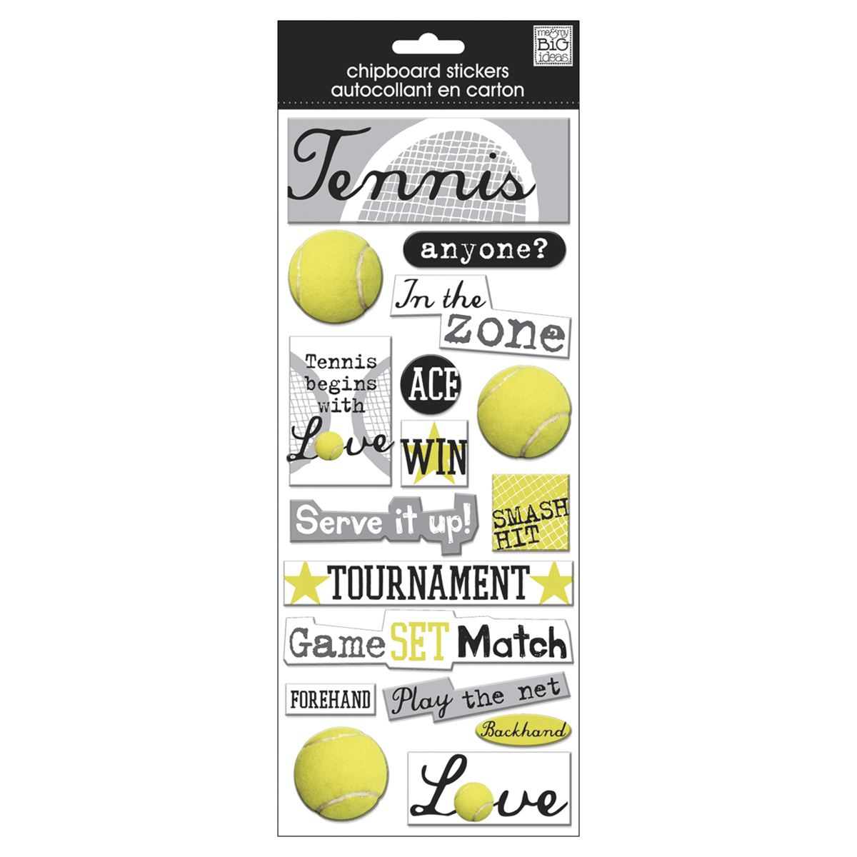 Me & My Big Ideas Designer Chipboard Stickers-Tennis, 16/Pkg