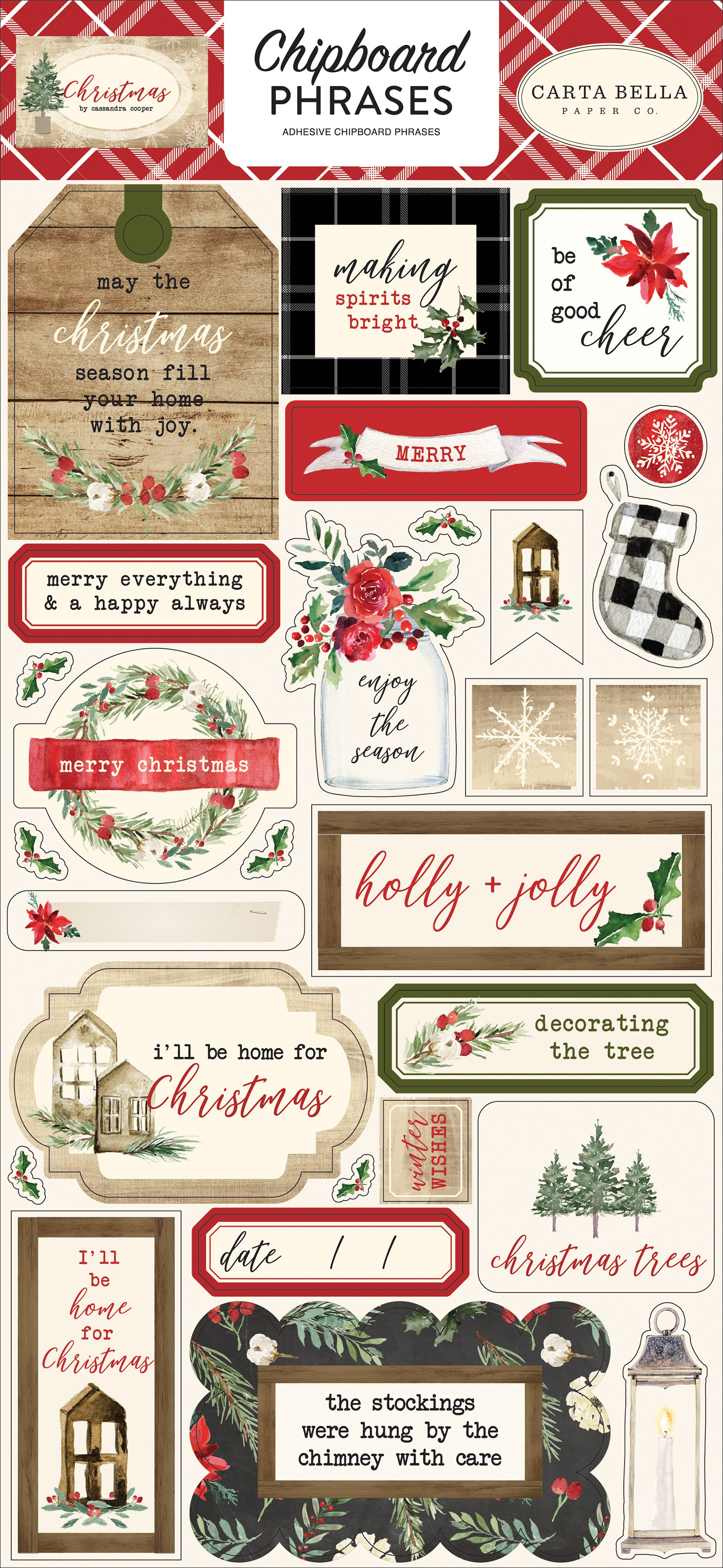 Carta Bella Chipboard Phrases Christmas by Cassandra Cooper