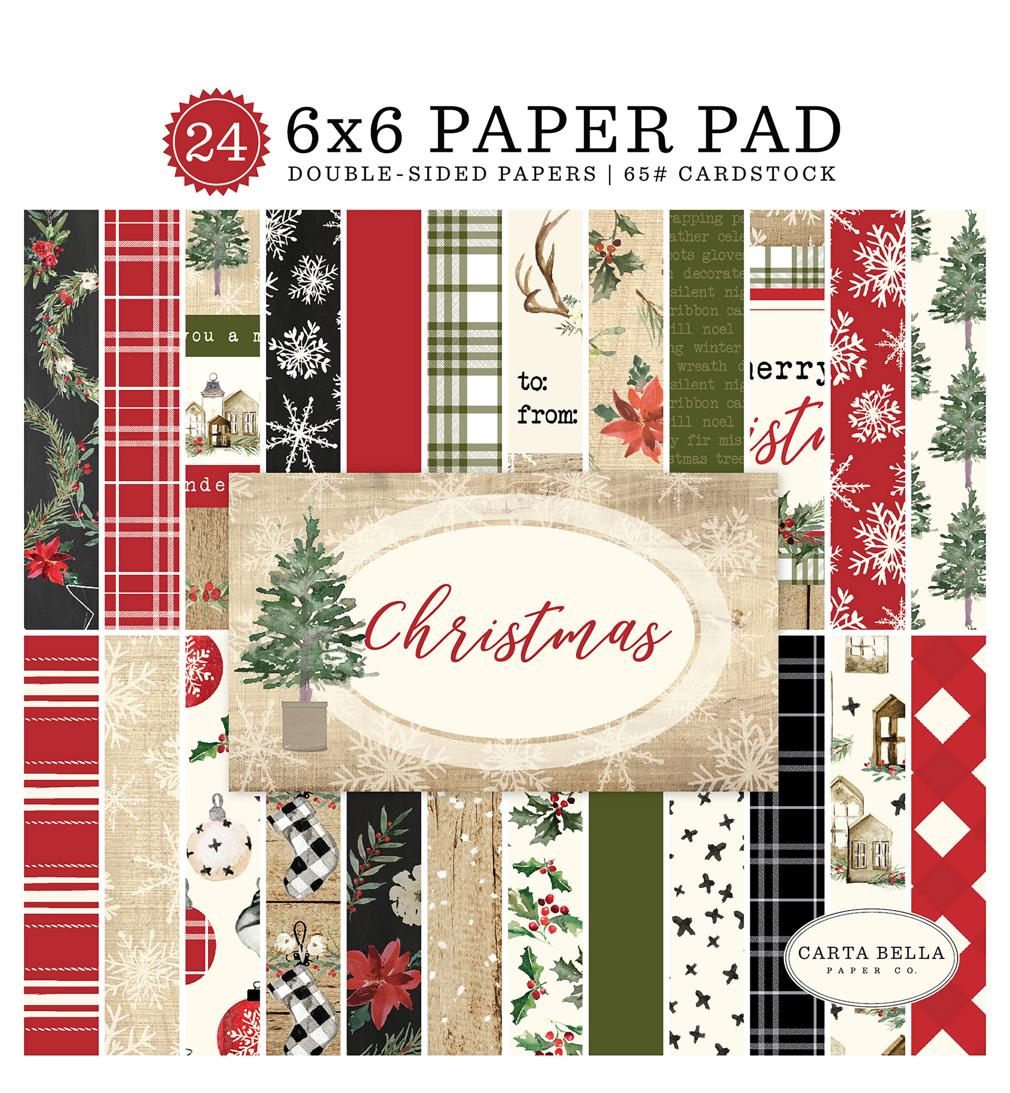 Carta Bella Double-Sided Paper Pad 6X6 24/Pkg-Christmas, 12 Designs/2 Each