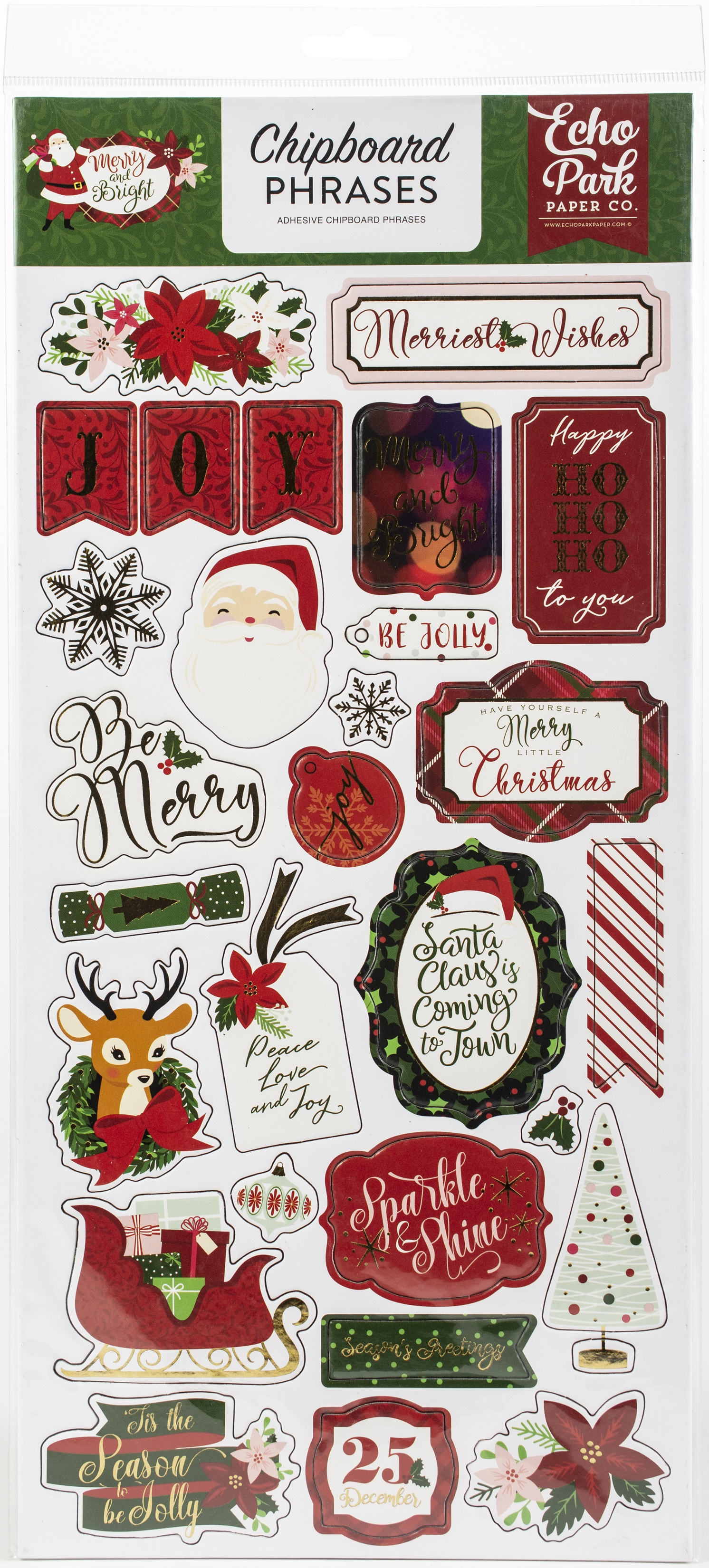 Echo Park Chipboard Phrases Merry and Bright