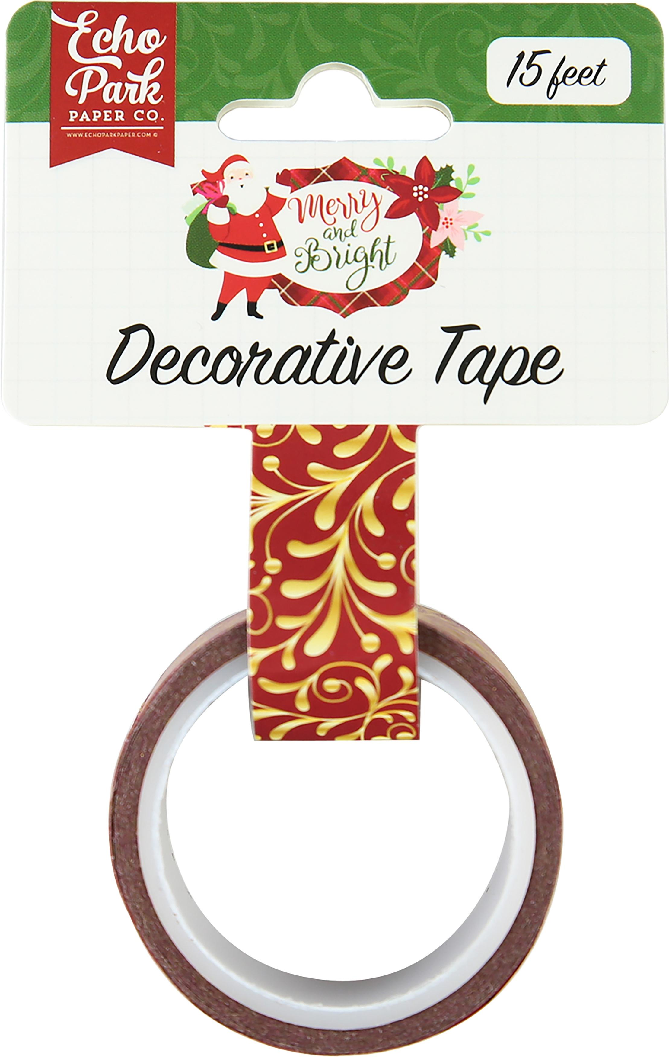 Merry & Bright Echo Park Decorative Tape 15'-Gold Flourish