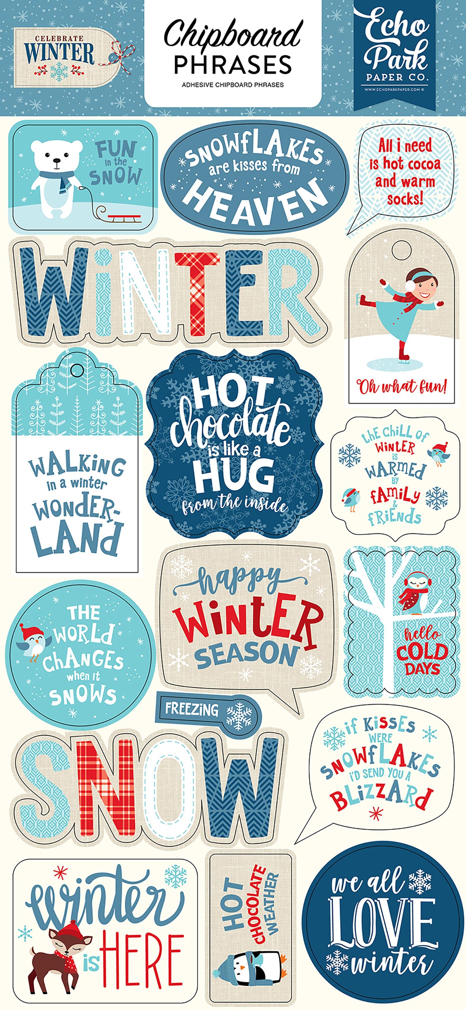 Celebrate Winter Chipboard 6X13-Phrases