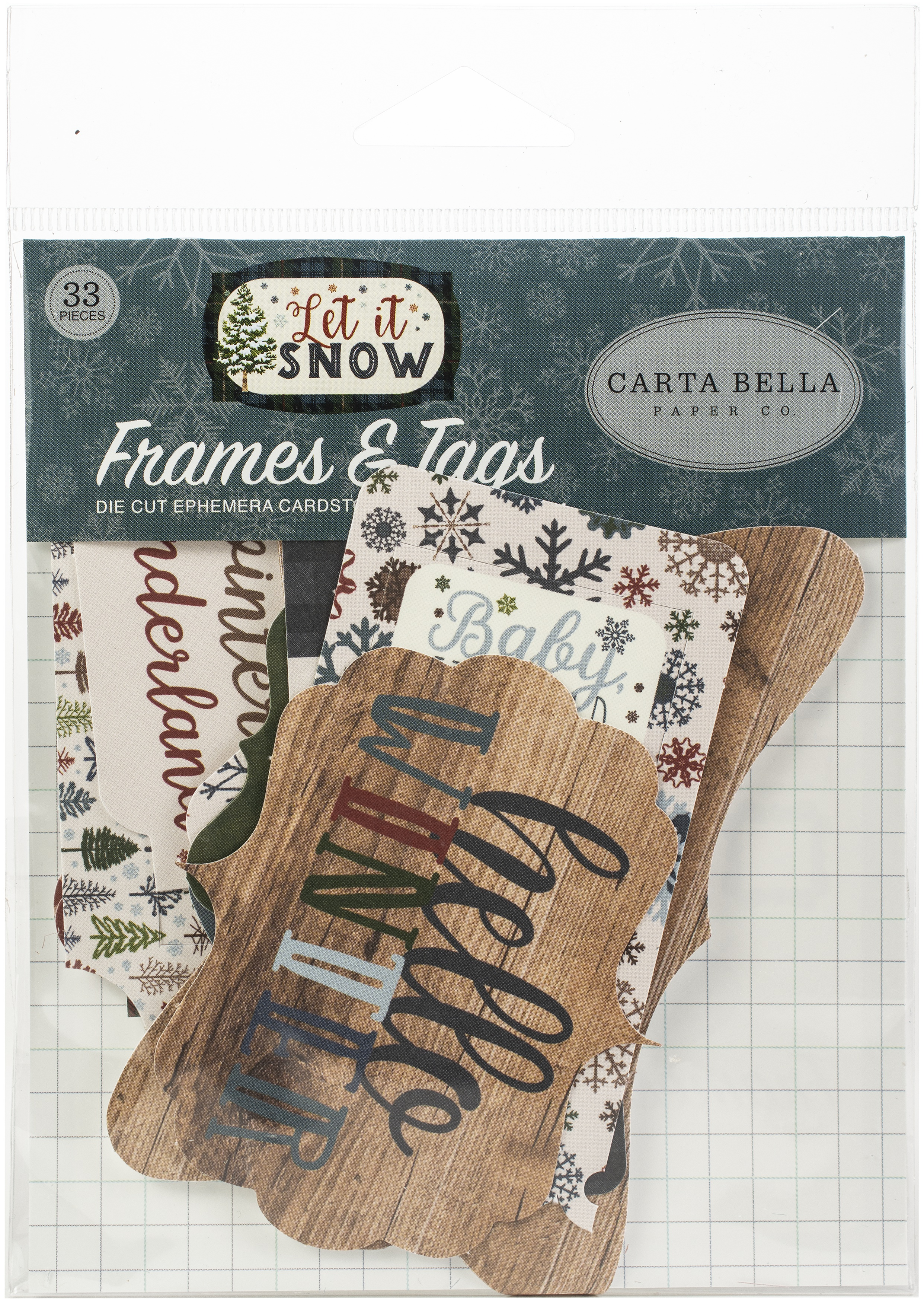 Carta Bella Cardstock Ephemera 33/Pkg-Frames & Tags, Let It Snow