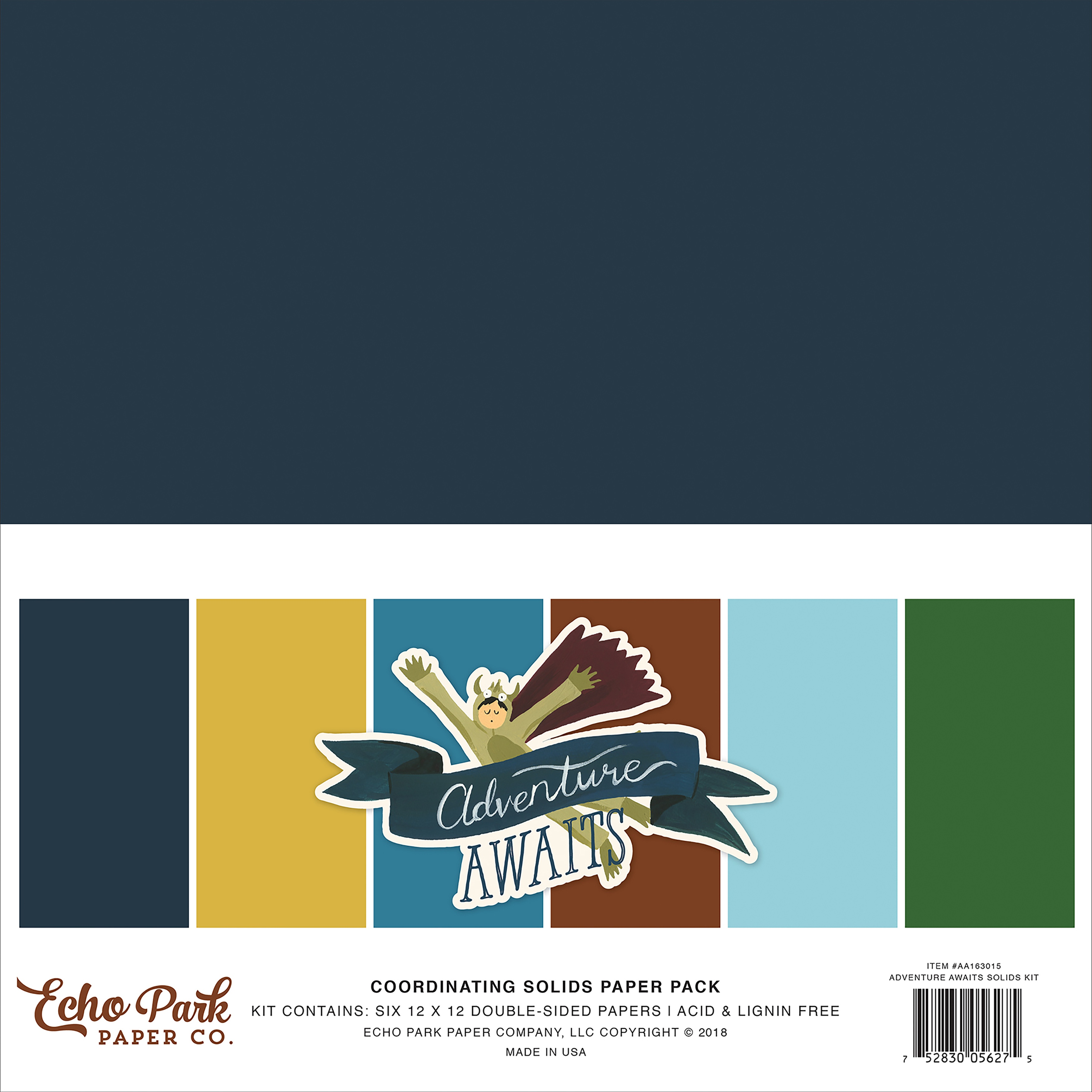 Echo Park Double-Sided Solid Cardstock 12X12 6/Pkg-Adventure Awaits 6 Colors