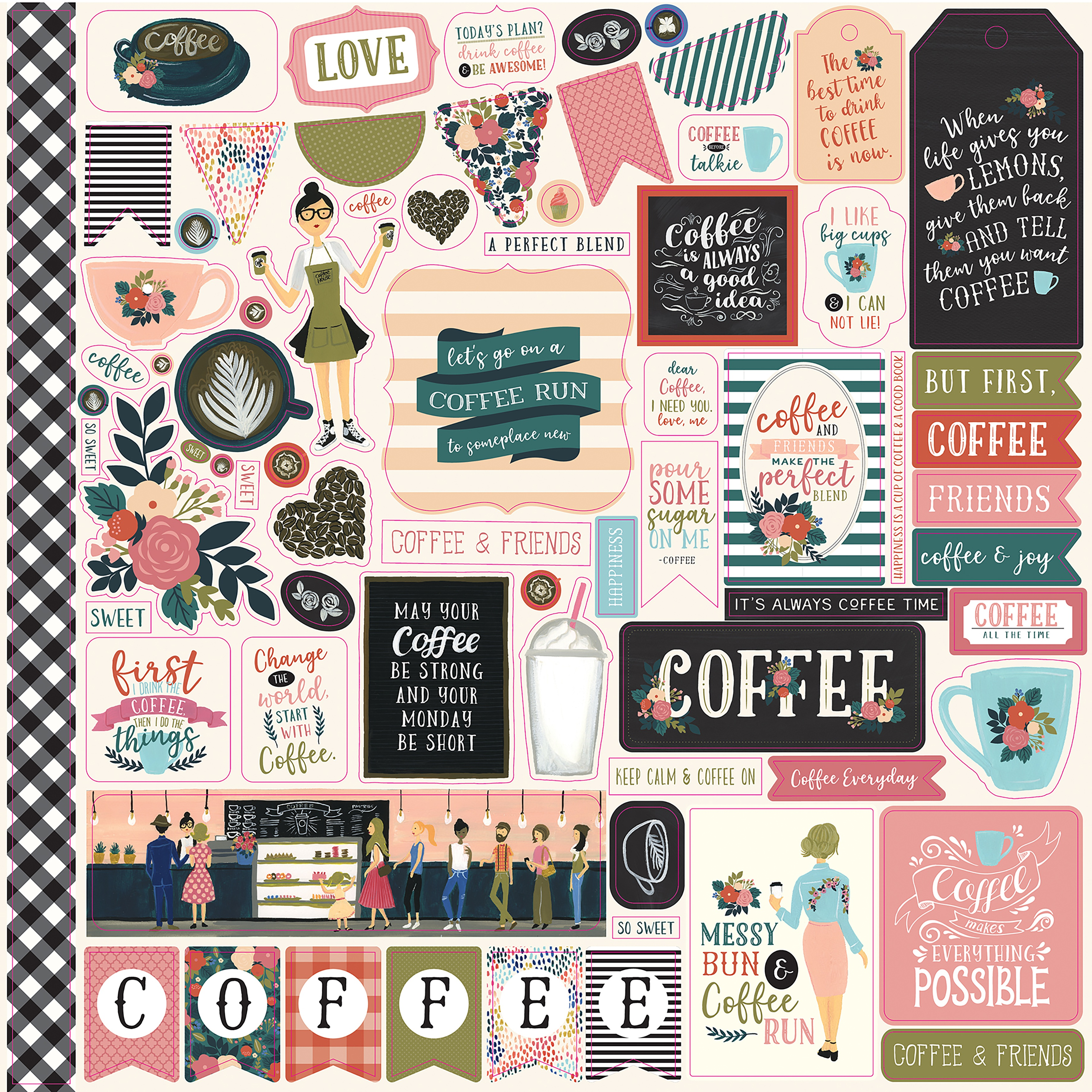 Coffee Cardstock Stickers 12X12-Elements